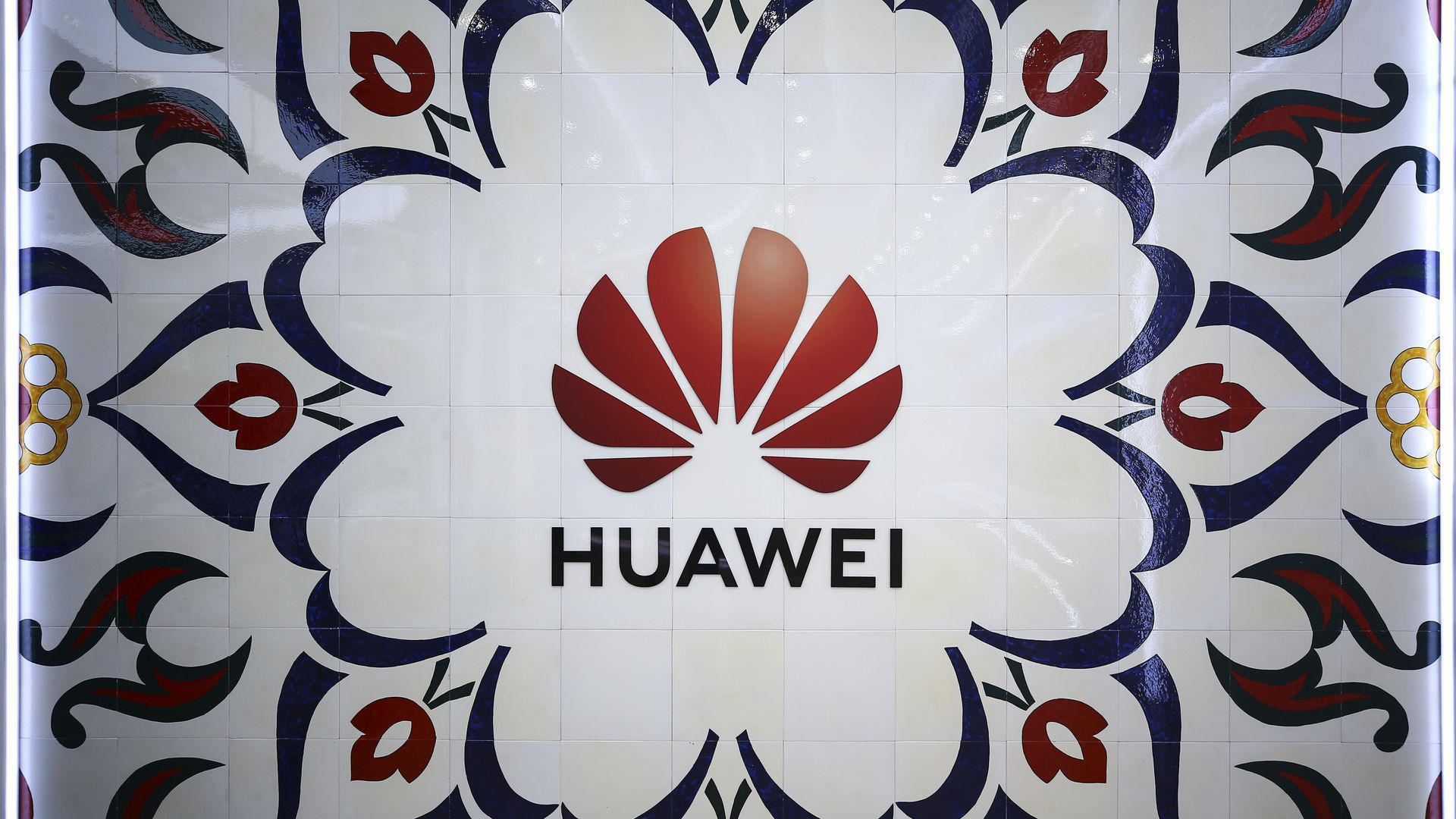 The Huawei logo, taken from the firm's Istanbul office.