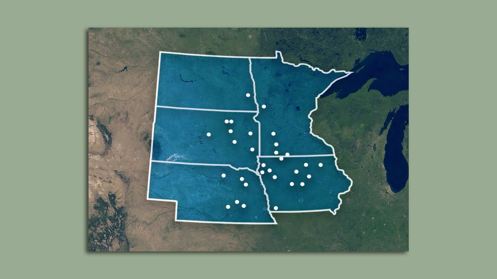 A map showing the locations of more than 30 ethanol plants where carbon dioxide would be captured.