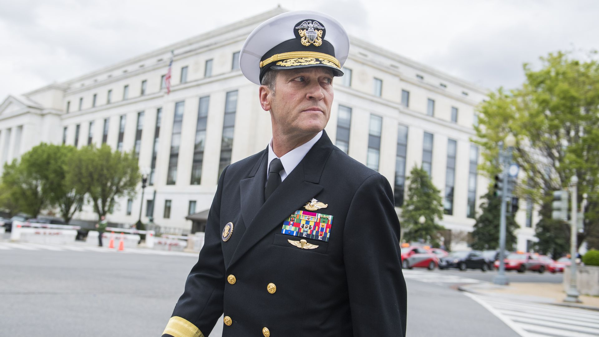Rear Adm. Ronny Jackson, nominee for Veterans Affairs secretary, leaves Dirksen Building after a meeting on Capitol Hill.