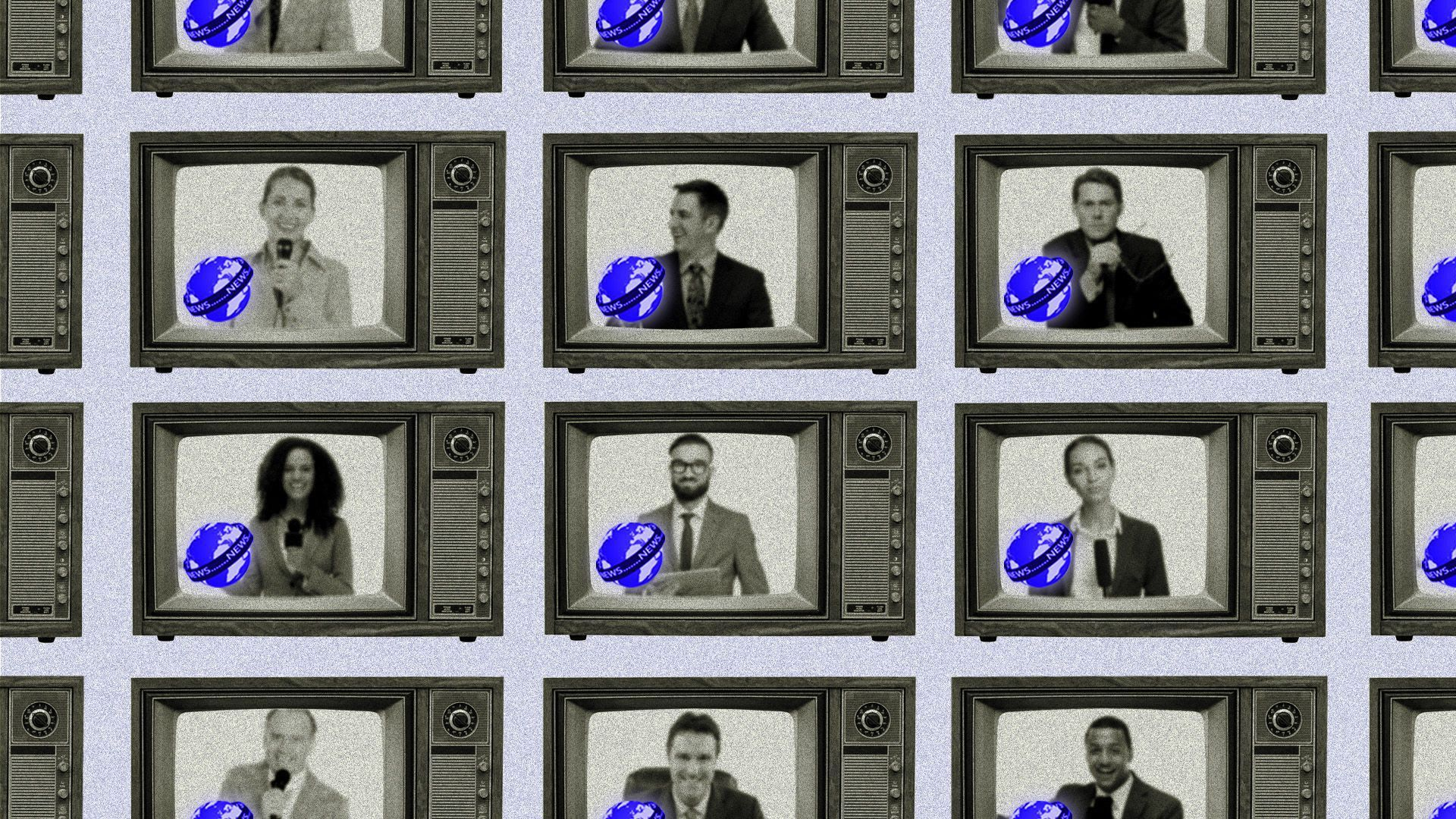 An illustration of a wall of television screens