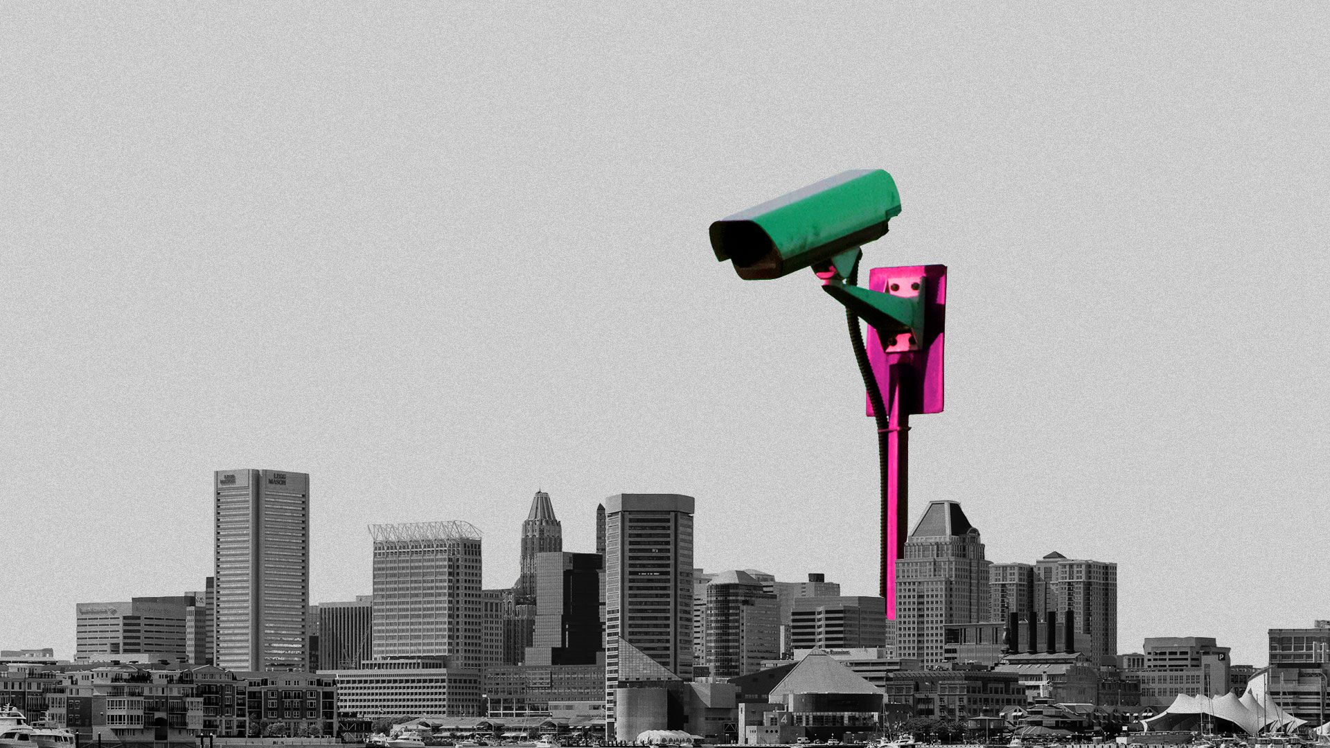 Illustration of the Baltimore city skyline with a massive CCTV camera overlooking the city from above.