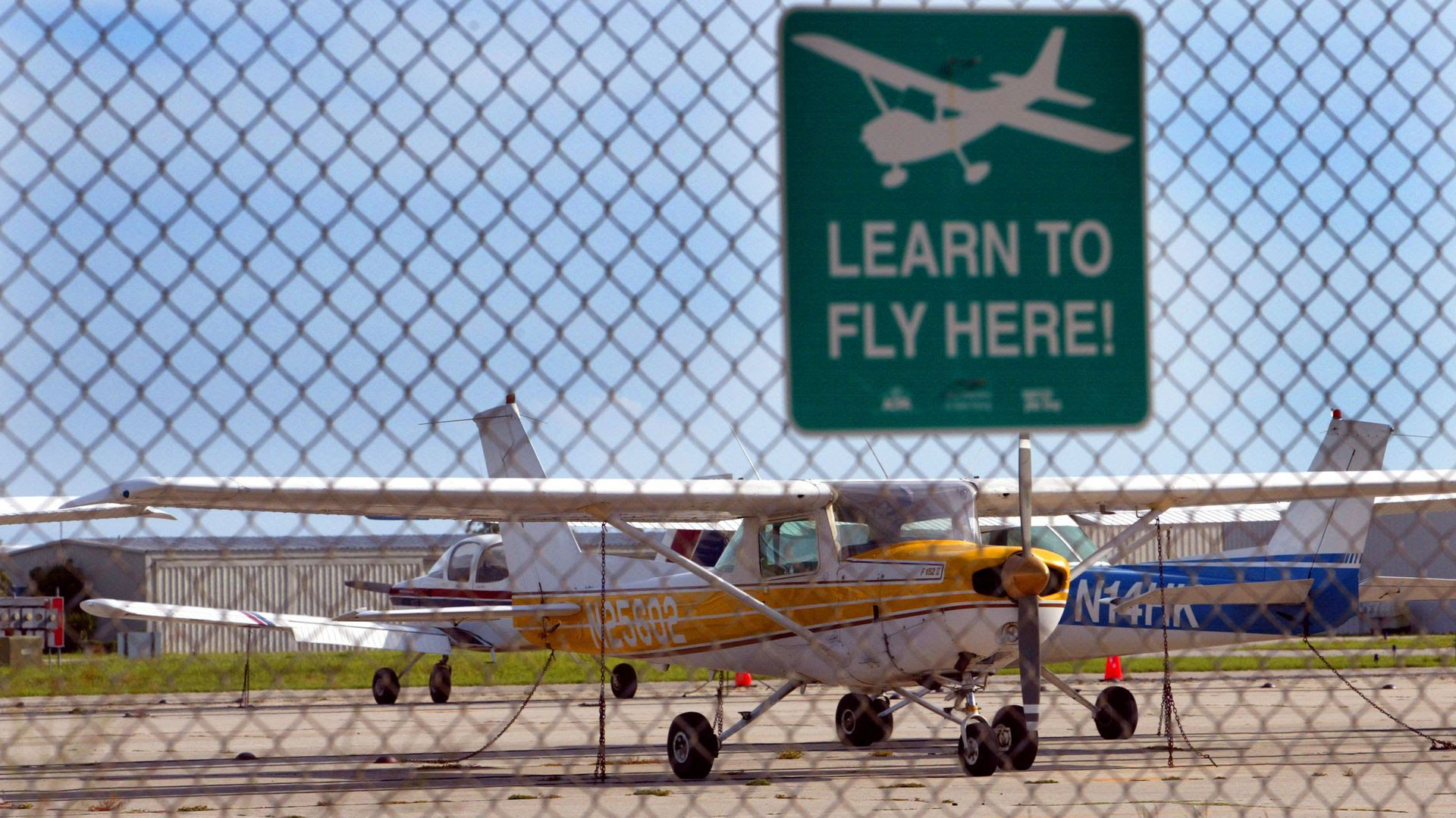 Small airplanes sit on the tarmac at the Venice Municipal Airport, where three 9/11 terrorists took flying lessons.
