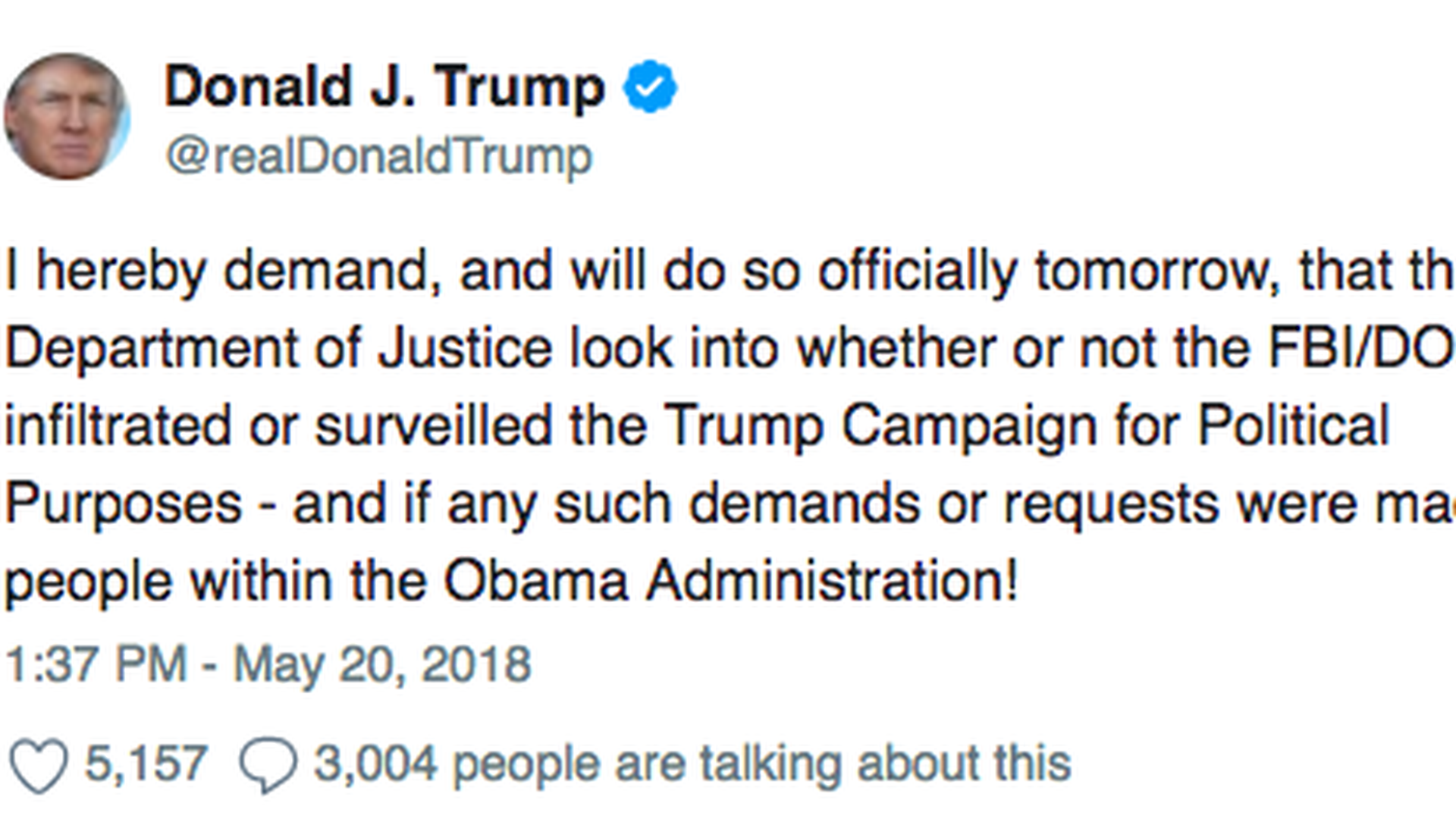 Trump demands DOJ investigation into FBI surveillance of his campaign