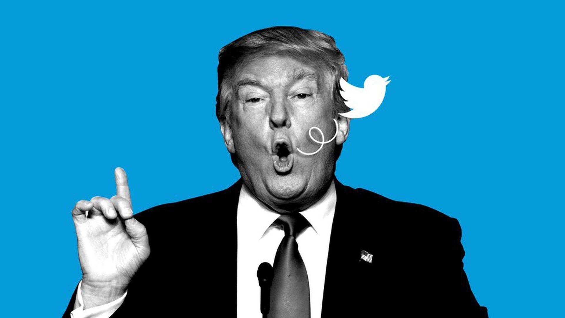 Trump tweeting illustration