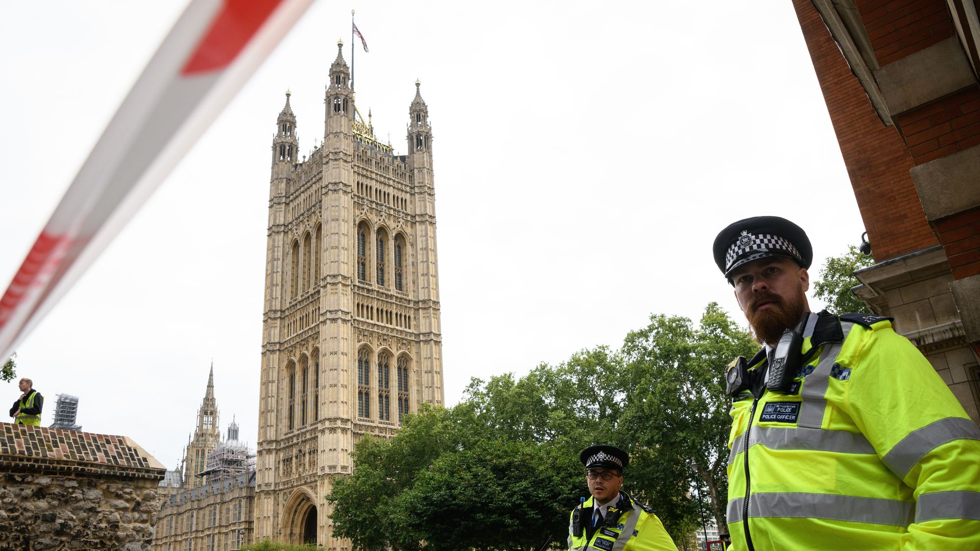 Police secure the area outside Westminster