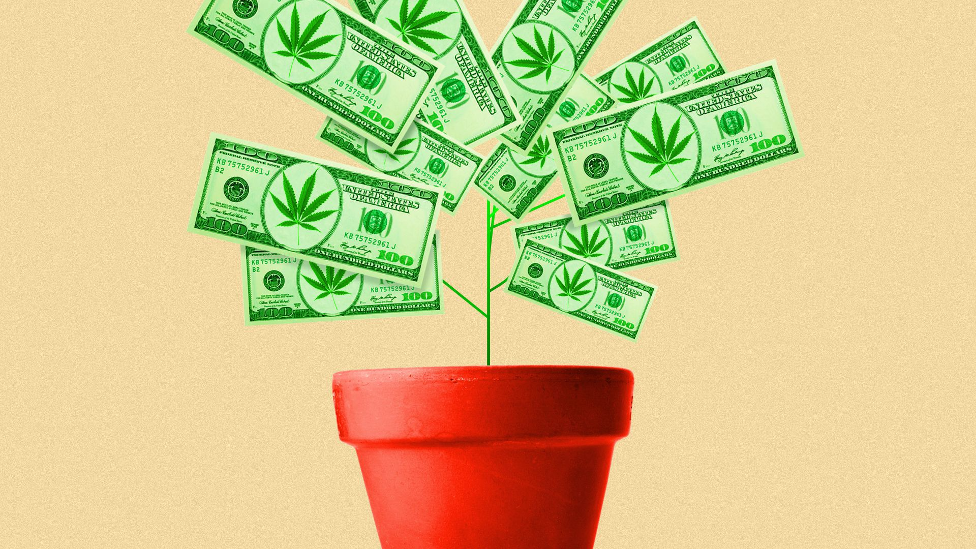 A flowerpot with a plant growing out of it that looks like marijuana, but is made of greenbacks.