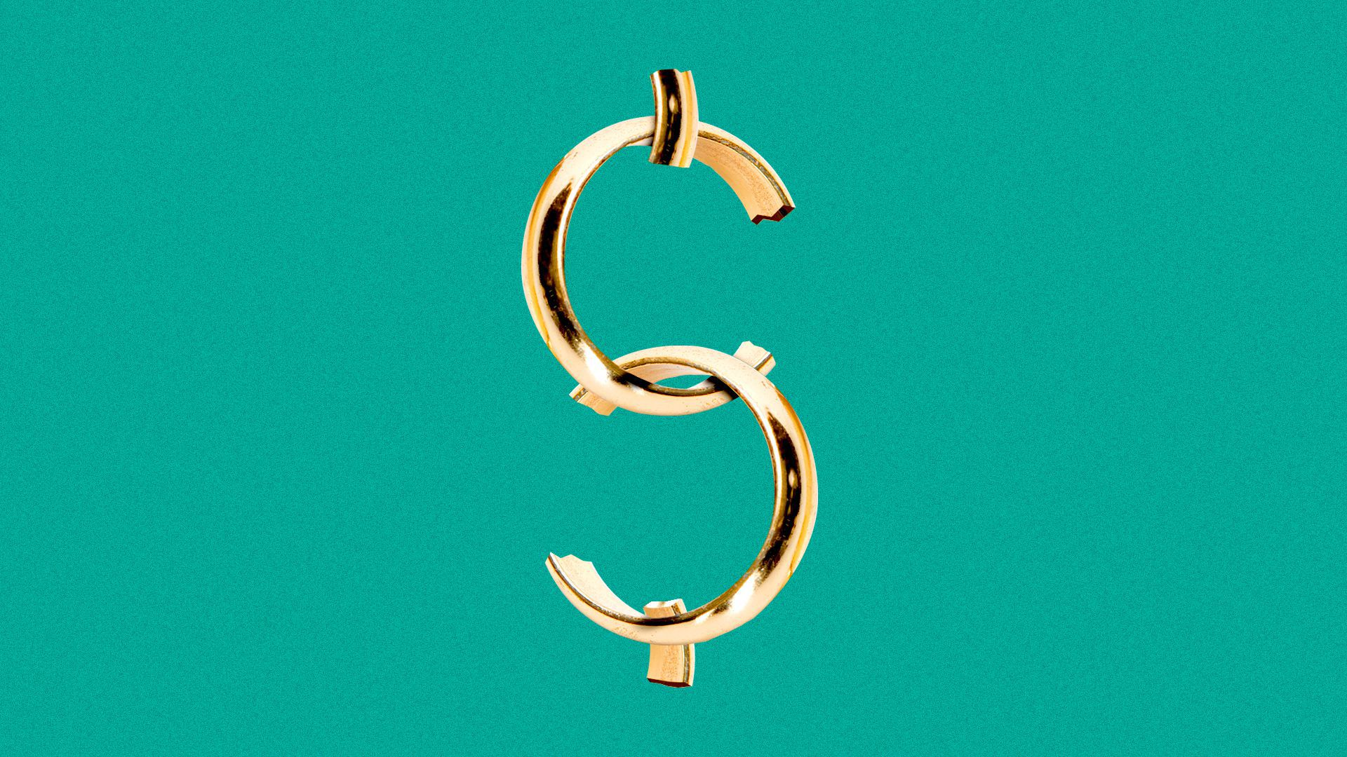 Illustration of two broken wedding bands arranged into the shape of a dollar sign.