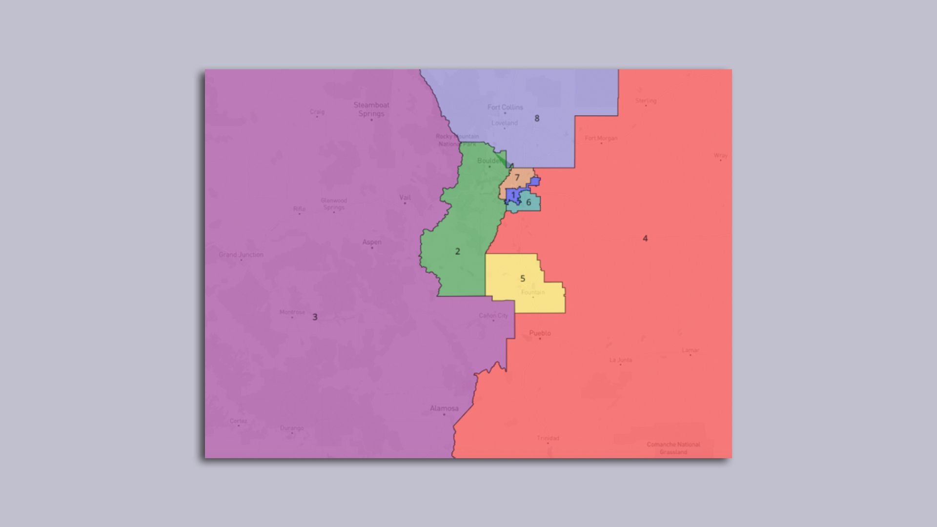 A picture of congressional districts in Colorado.