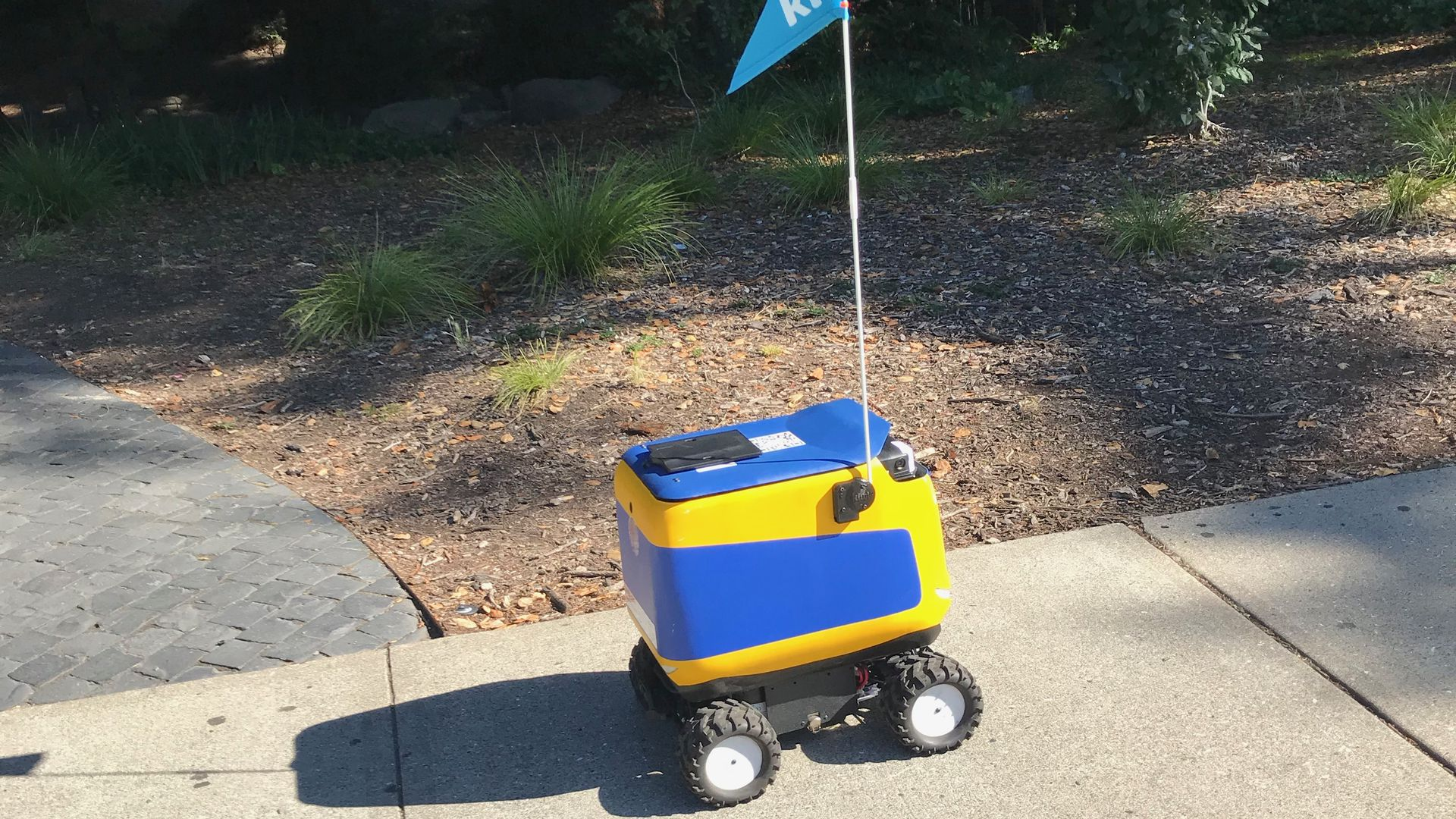 A blue and yellow sidewalk robot on the UC Berkeley campus.