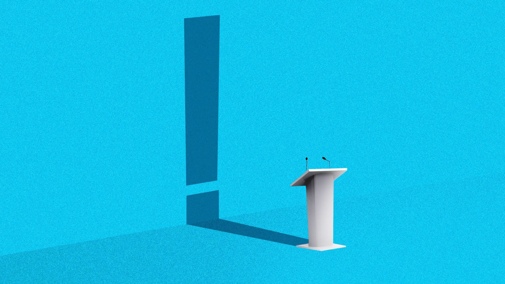 A debate lectern with the shadow of an exclamation point behind it