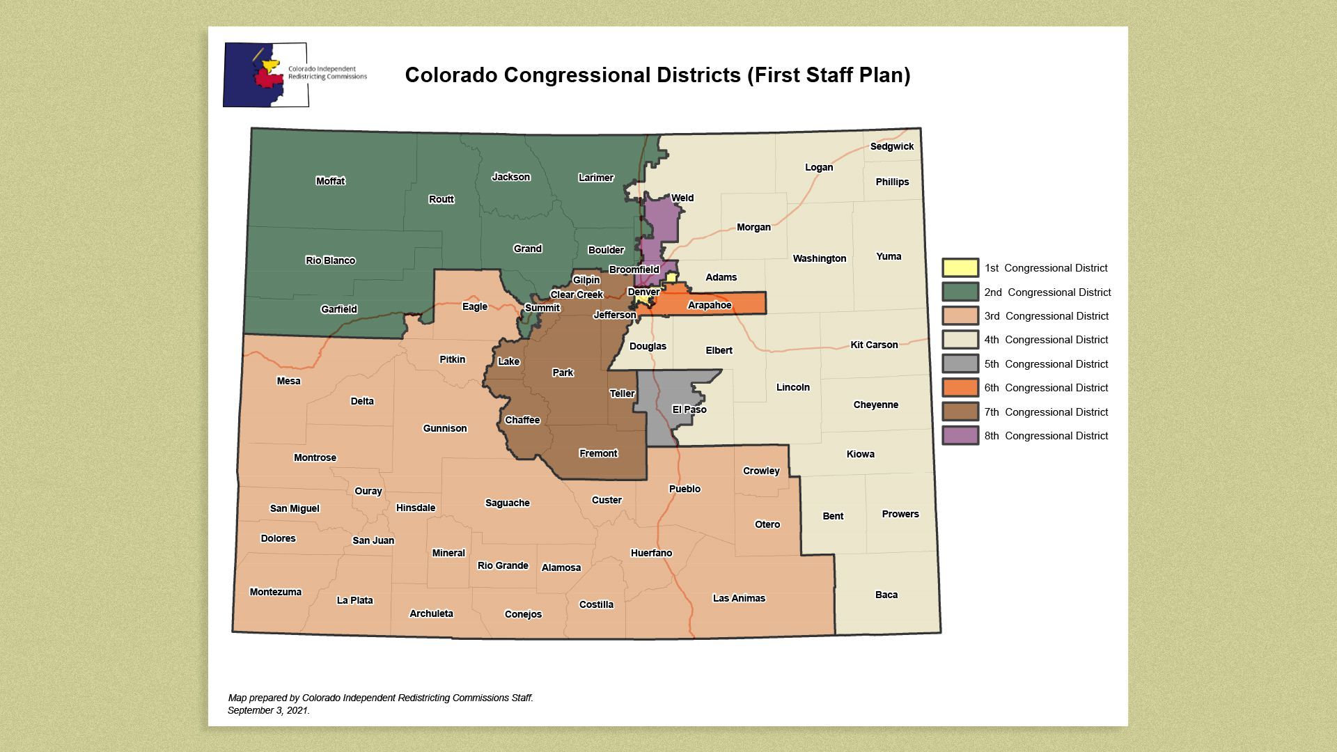 A draft map of congressional district boundaries released Sept. 3.