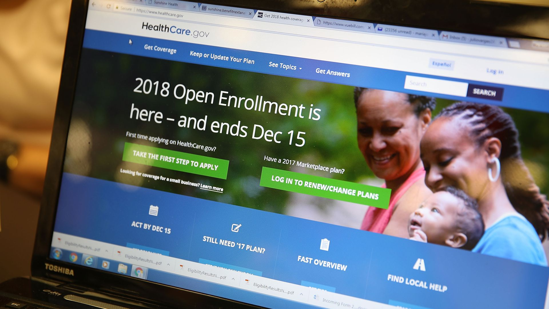 A screenshot of the Affordable Care Act enrollment website