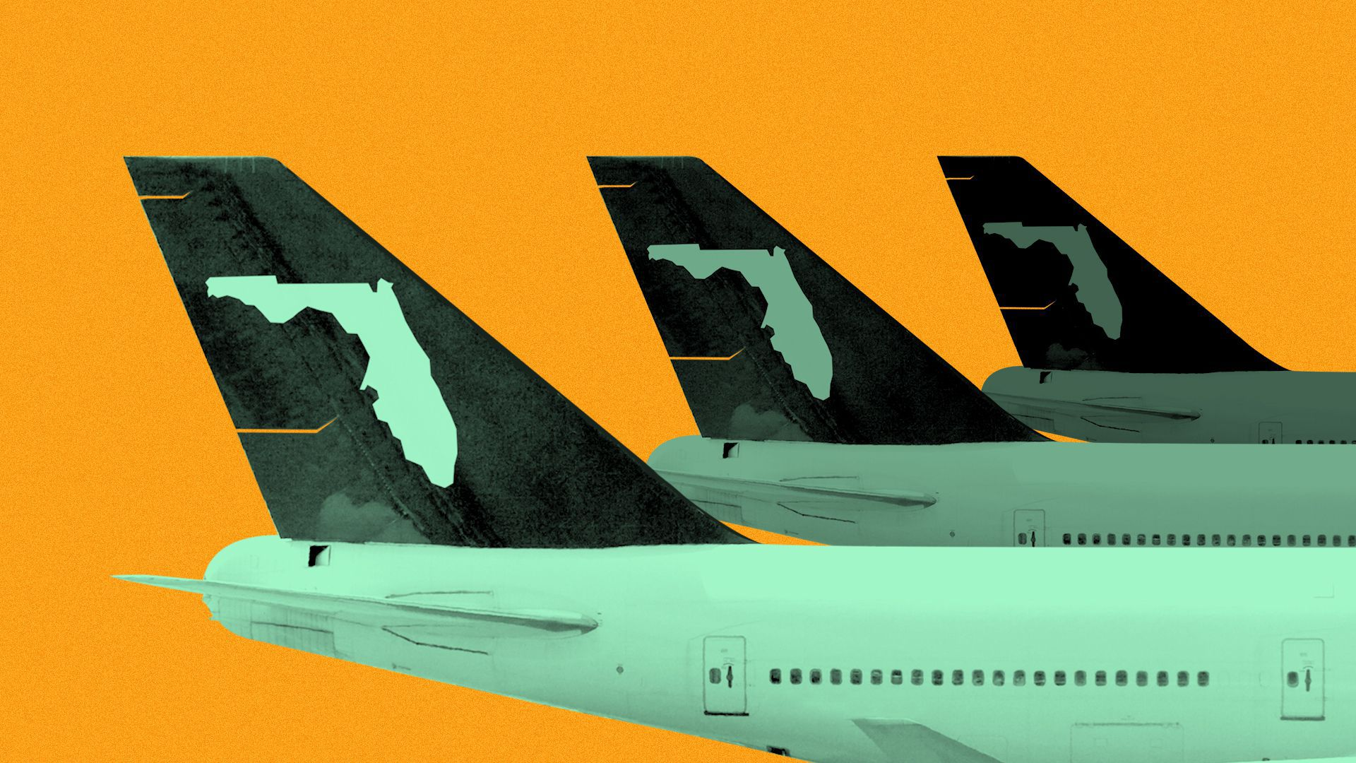 Illustration of the tails of three airplanes, with the state of Florida for a logo.
