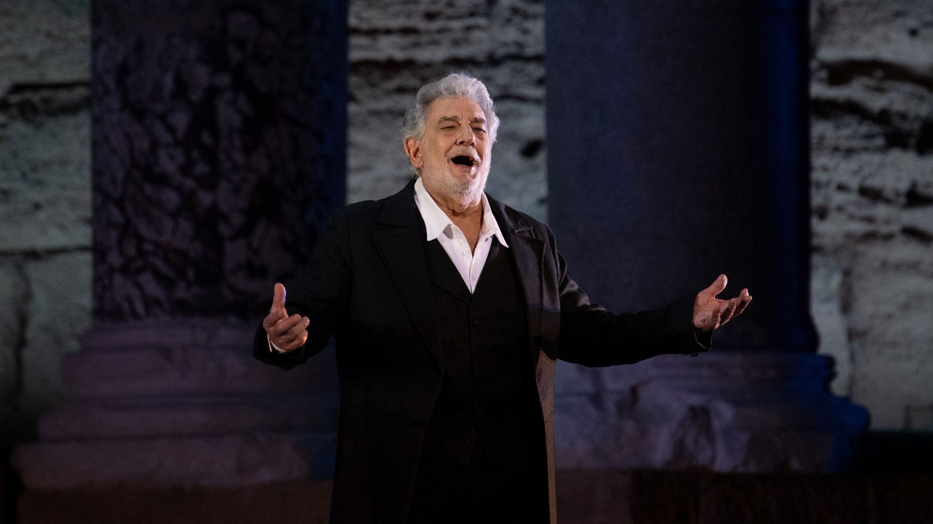"""Spanish opera singer Placido Domingo, 78, performs on stage during the dress rehearsal of """"Spanish Night"""" at the 150th Choregie in Orange on 5 July"""