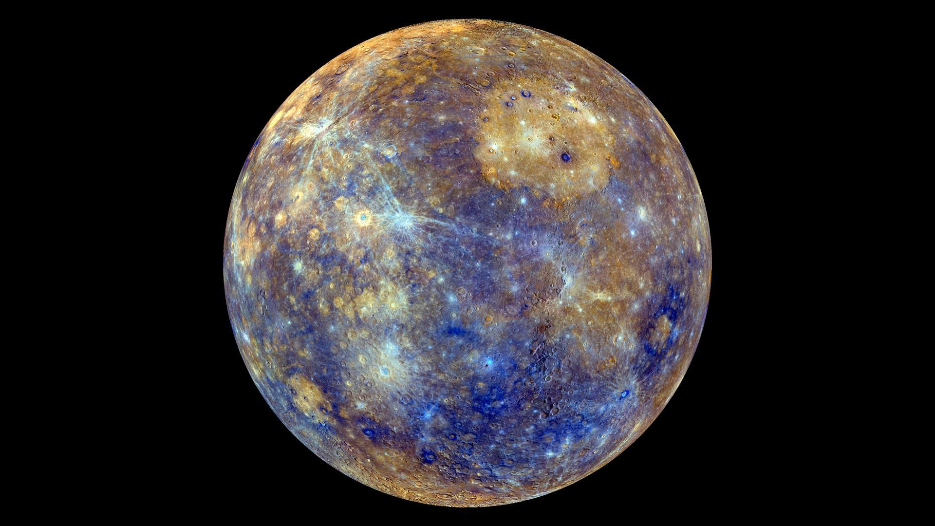 A color-enhanced view of Mercury against a black background