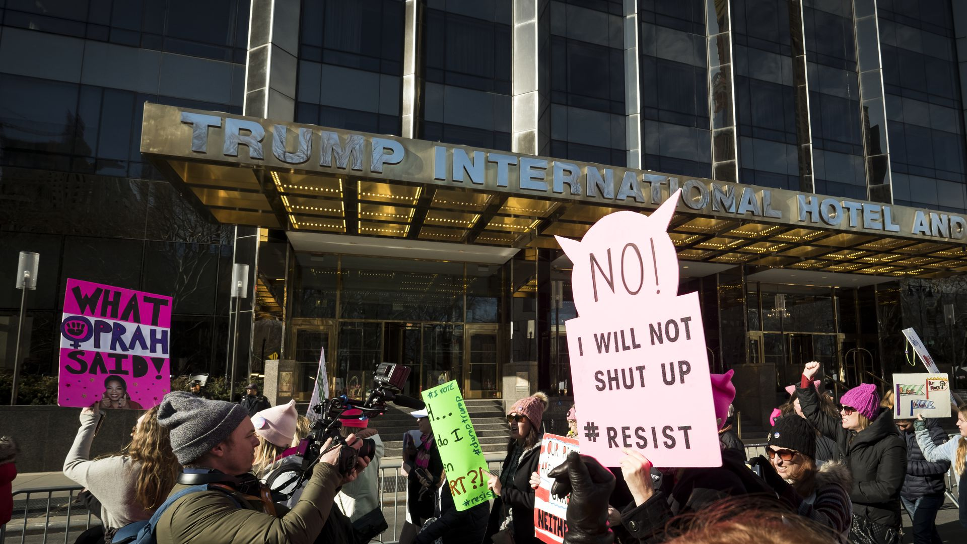Protestors outside Trump International Hotel and Tower in New York