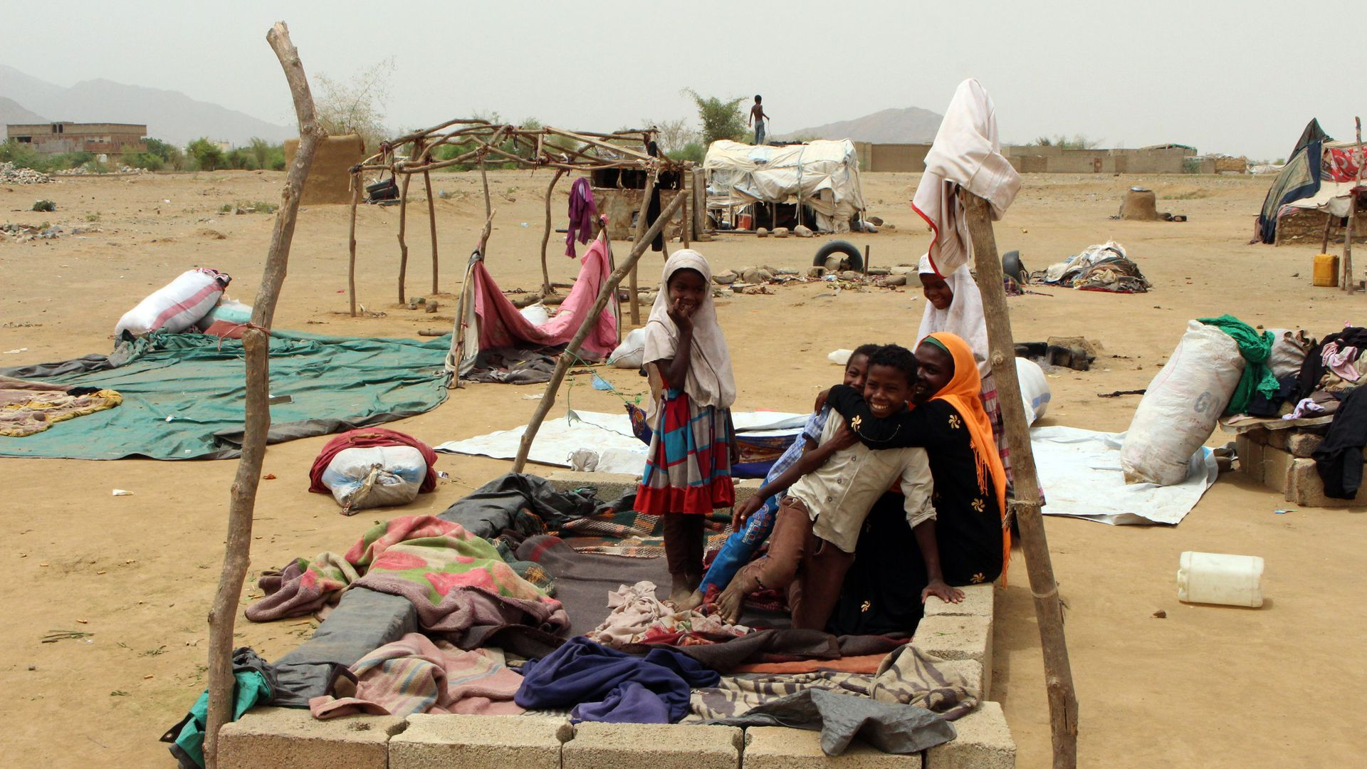 Displaced residents of Hodeida, Yemen, in a make-shift shelter