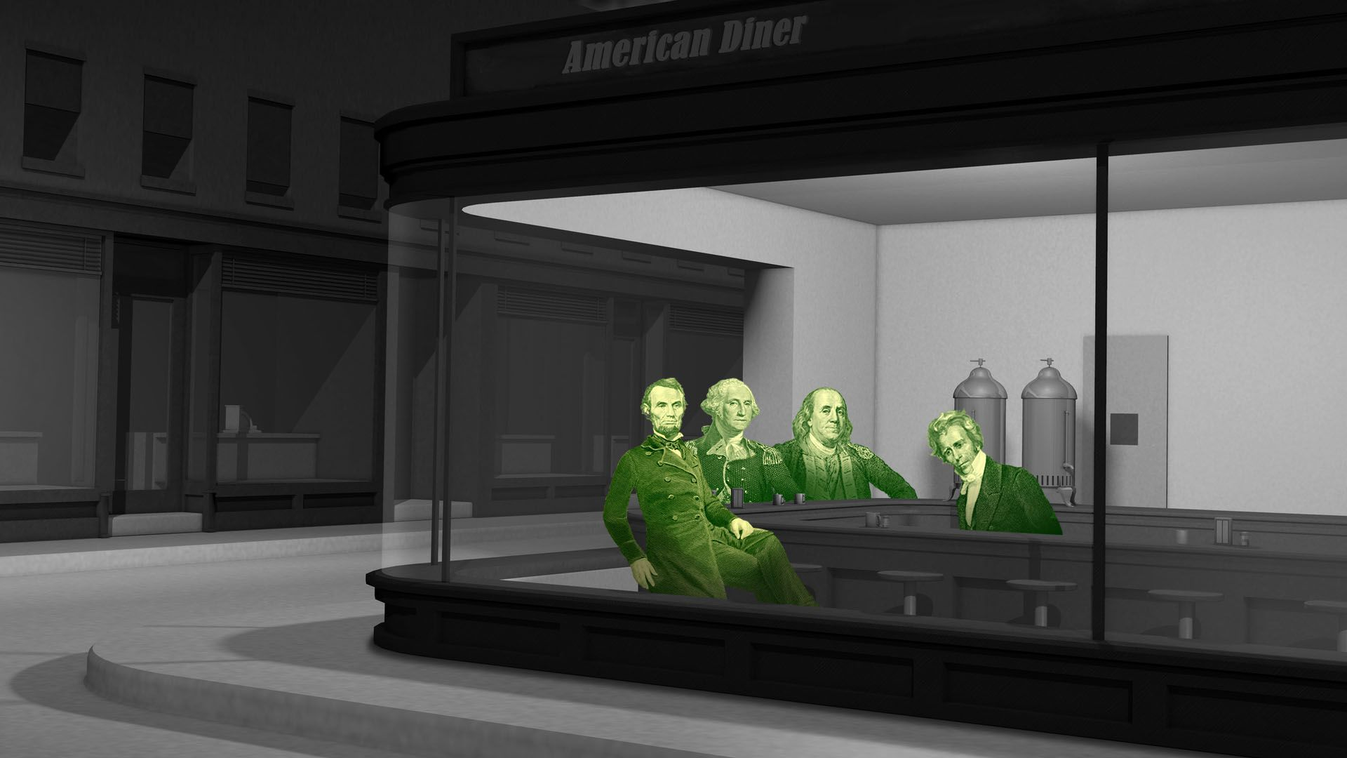 In this illustration, the founding fathers sit in a room