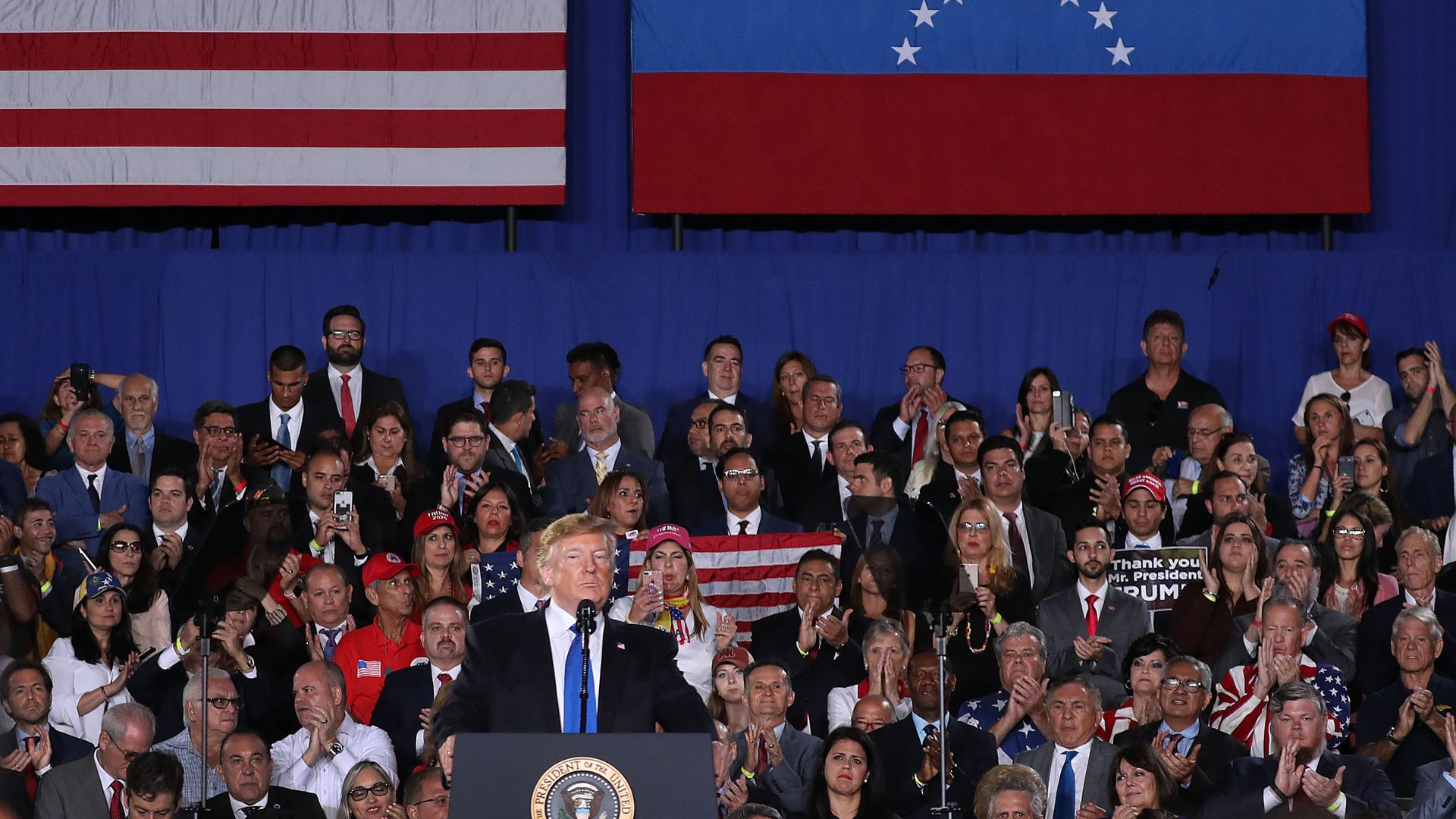 President Trump speaks about the ongoing crisis in Venezuela at a rally Monday at Florida International University.