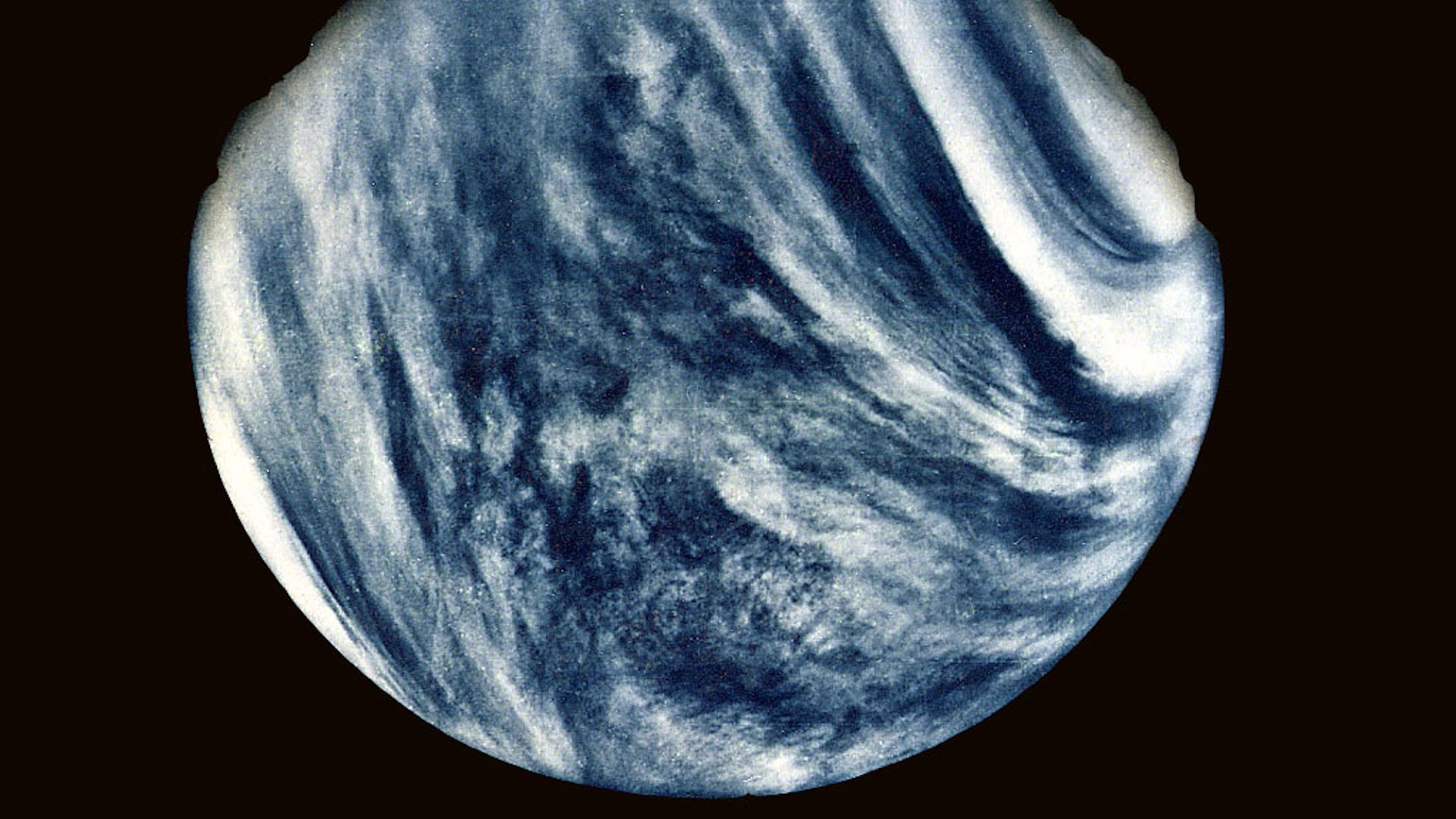 Venus as seen by Mariner 10.