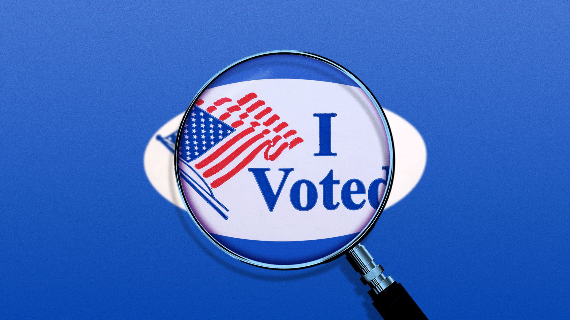 """Illustration of a magnifying glass over a """"I voted"""" sticker"""