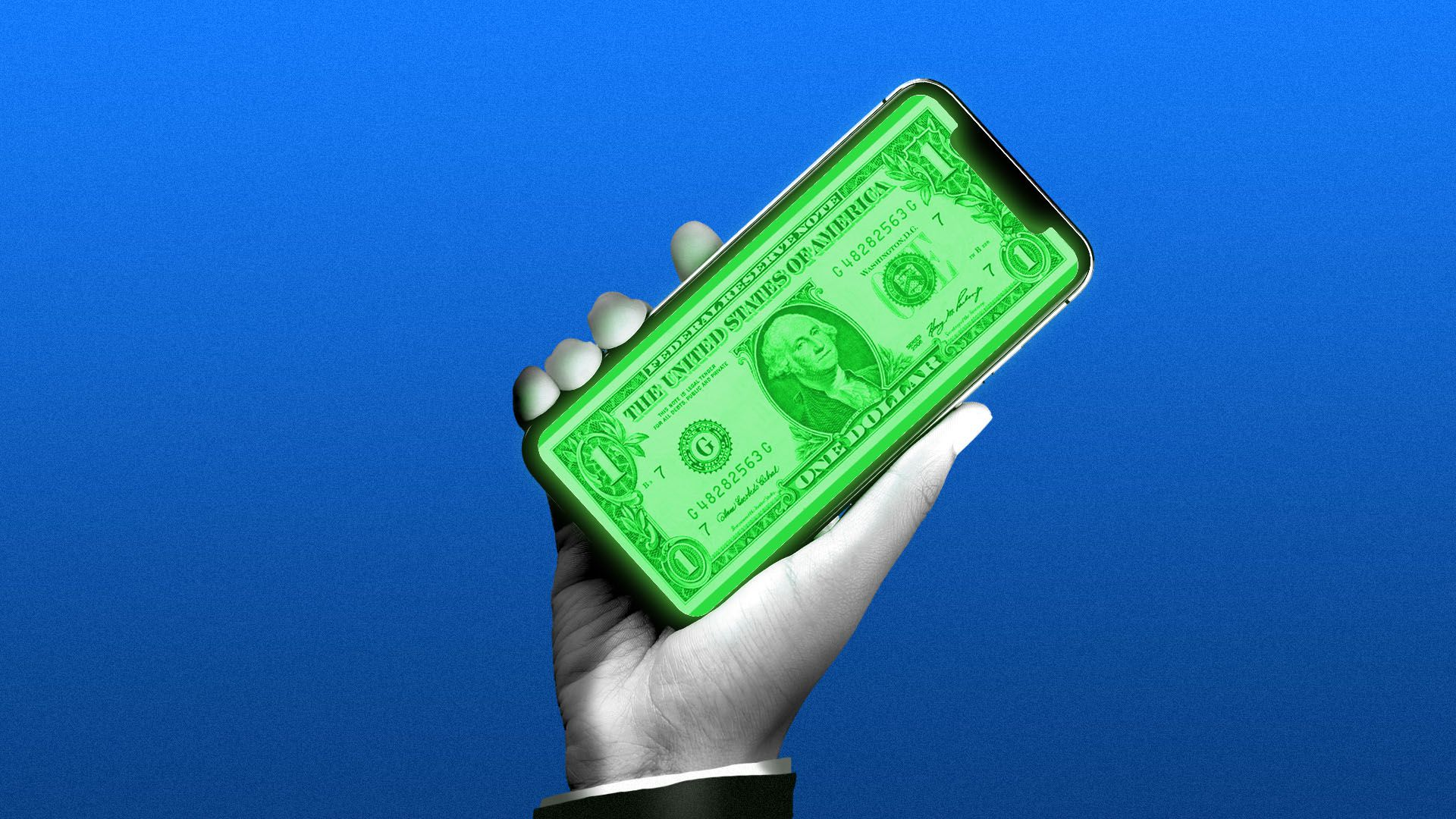 Illustration of a hand in a suit holding a cellphone with a dollar on the screen
