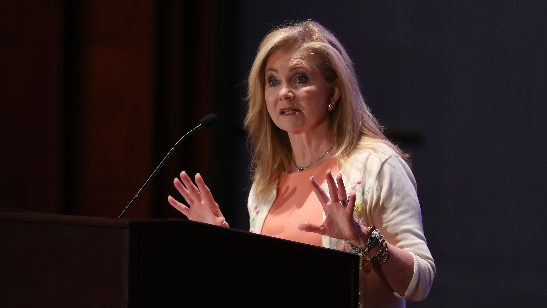 Sen. Marsha Blackburn speaks at a podium on June 27
