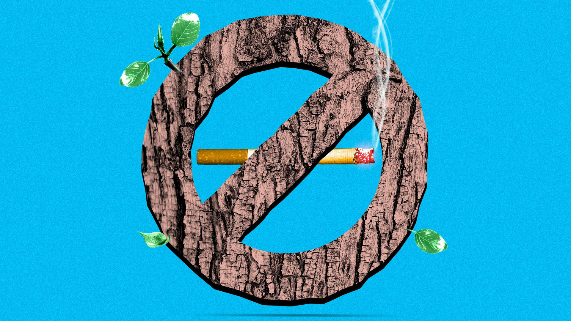 Illustration of a cigarette with a no smoking sign made of tree bark.