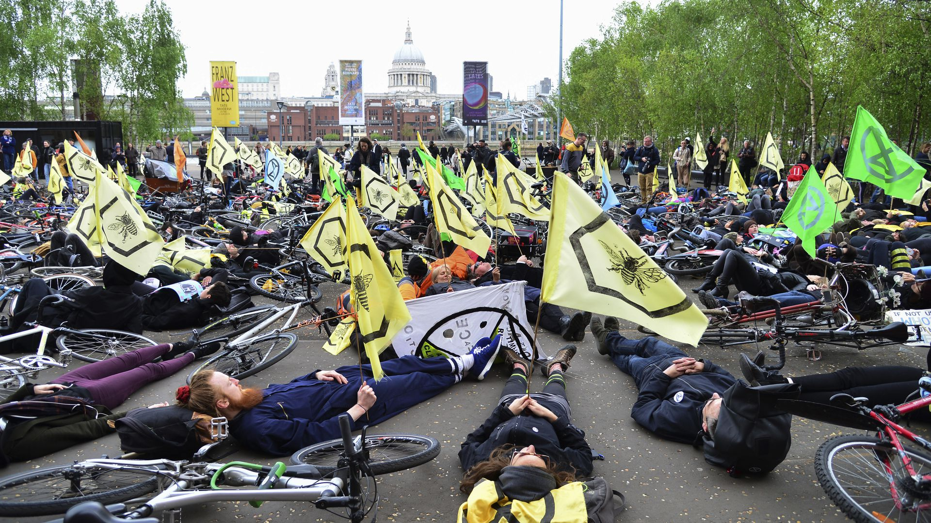 Extinction Rebellion protests April 27 in front of UK Parliament building. Photo: Claire Doherty/In Pictures via Getty Images