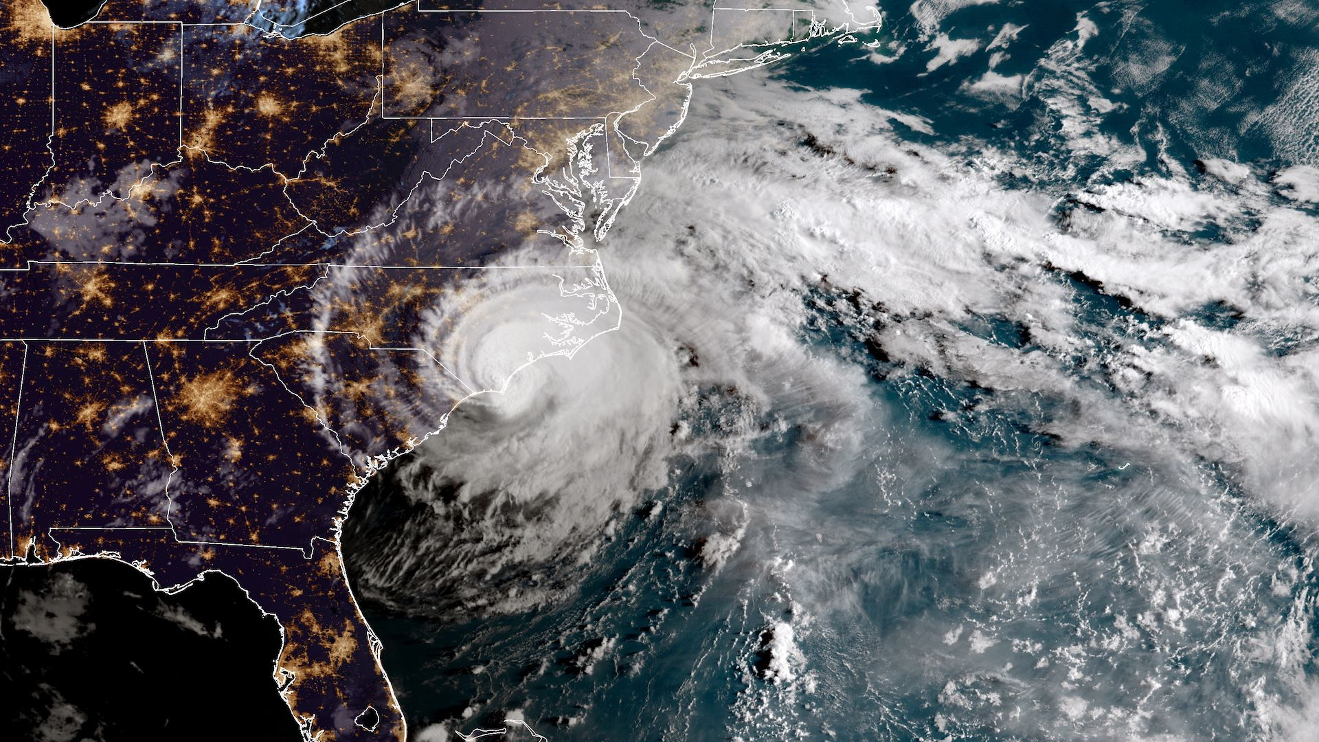 Hurricane Florence makes landfall in North Carolina in 2018.
