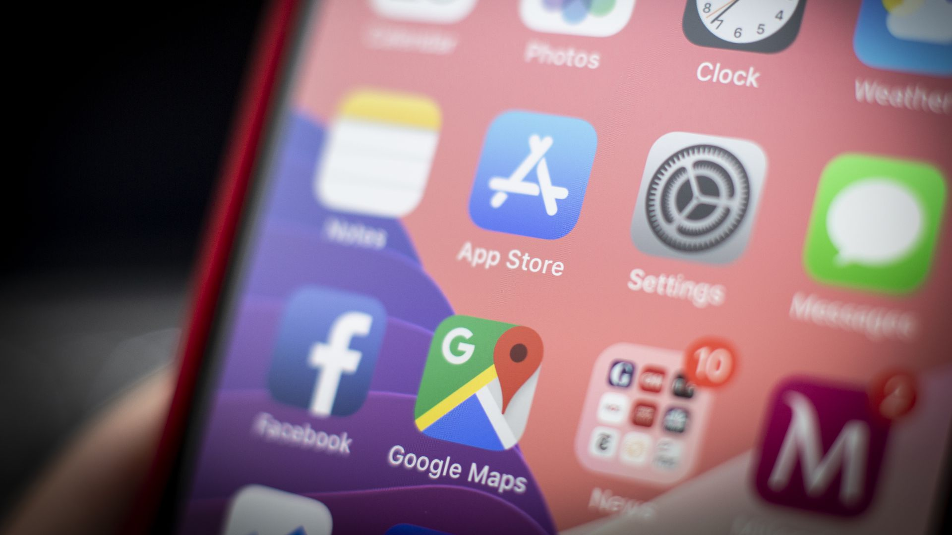 A Google Maps icon seen on an iPhone
