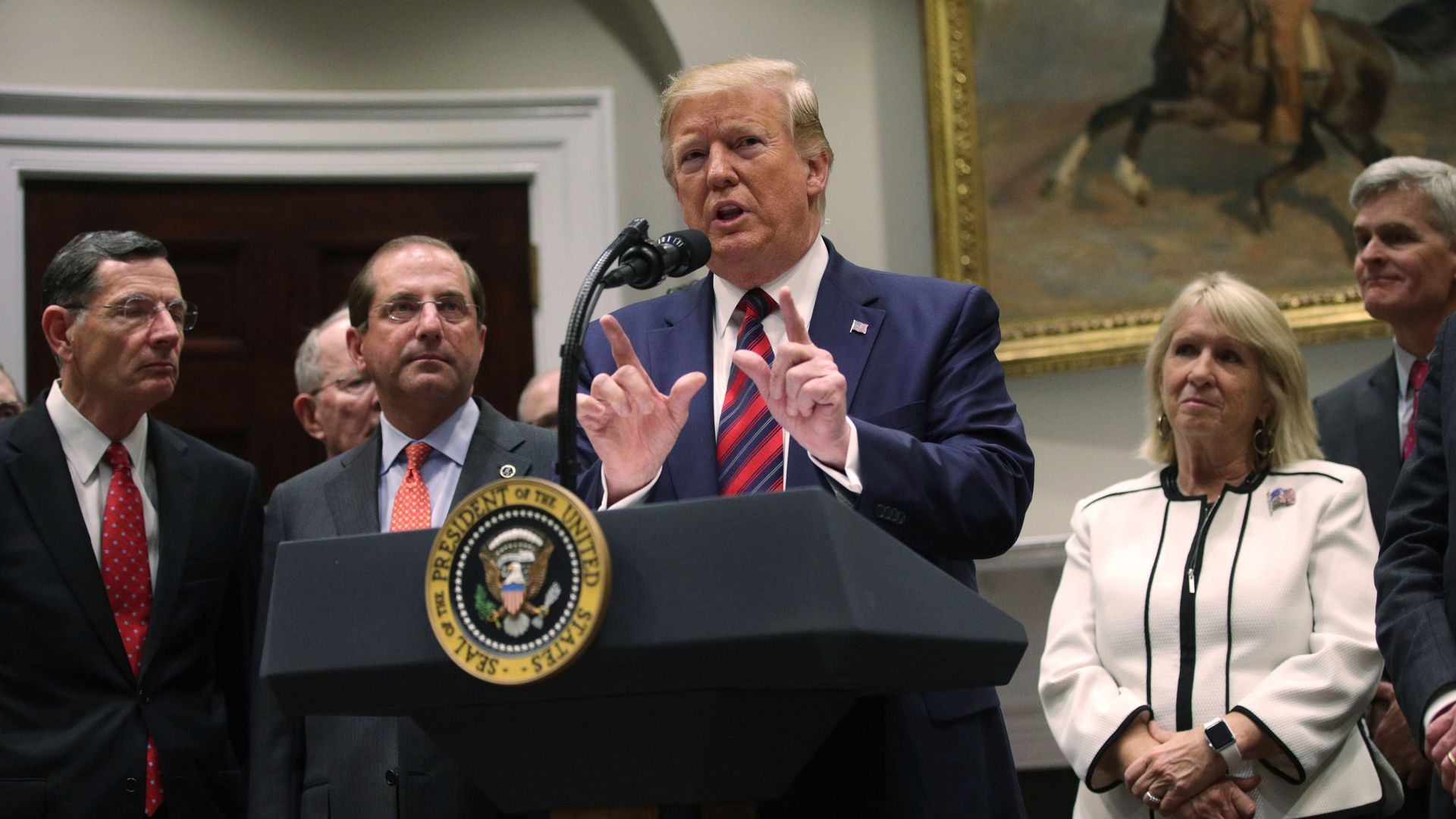 President Trump, alongside HHS Secretary Alex Azar and Republican members of Congress