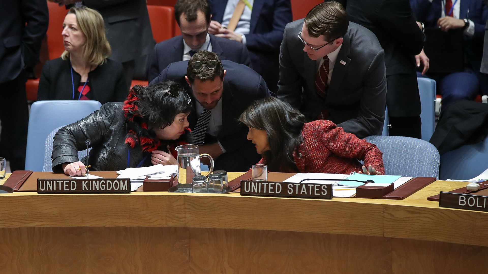 UN ambassadors from the U.K. (Karen Pierce) and U.S. (Nikky Haley) talk during a Security Council meeting