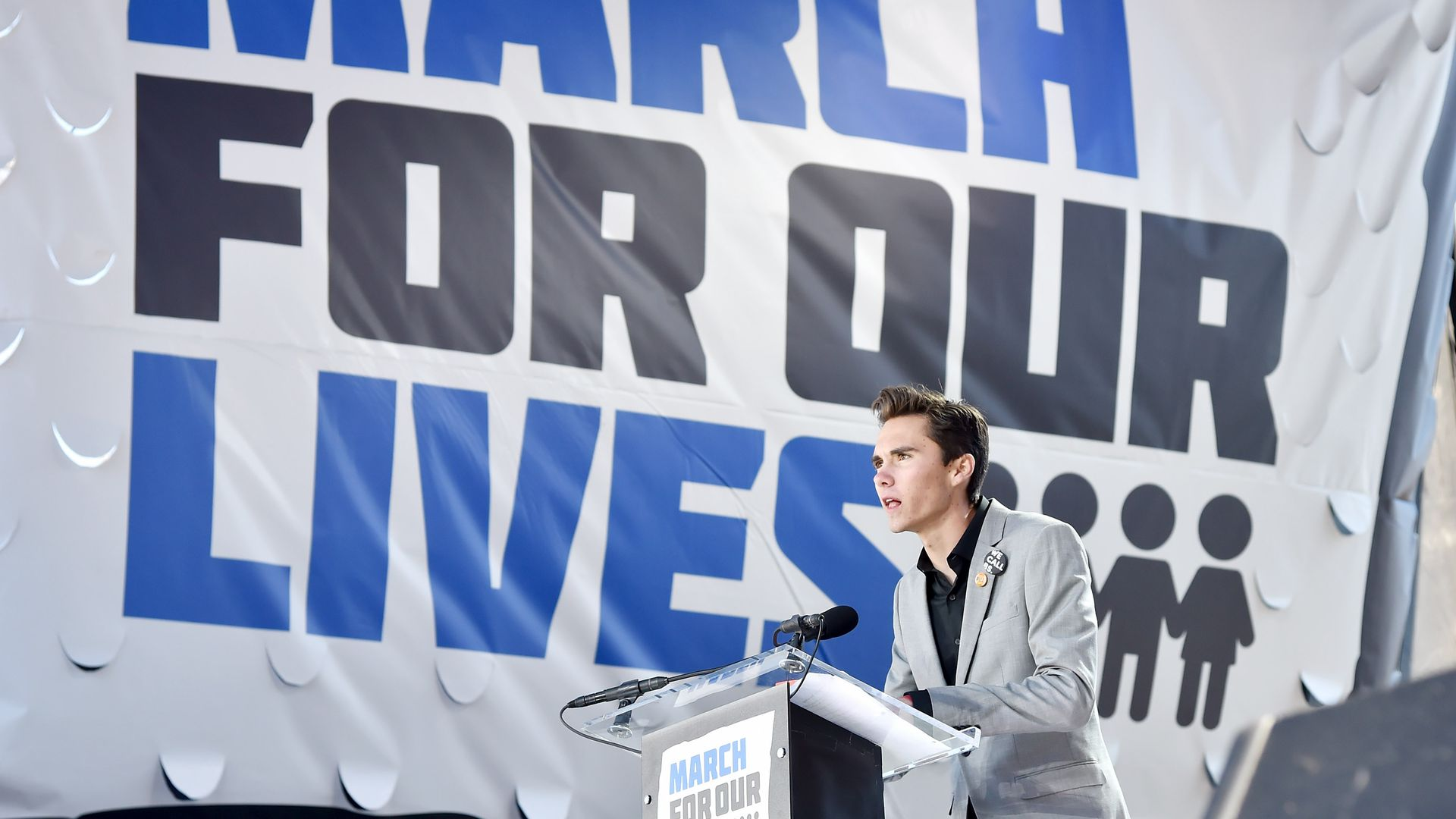 Marjory Stoneman Douglas High School student David Hogg speaks onstage at March For Our Lives on March 24, 2018 in Washington, DC. (Photo by Kevin Mazur/Getty Images for March For Our Lives)