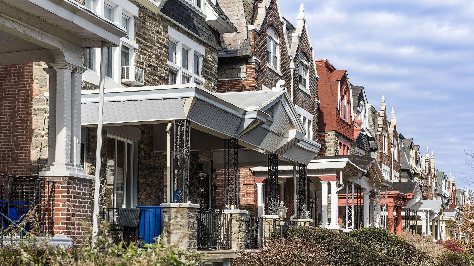 Row homes in Philadelphia's Mt. Airy neighborhood.