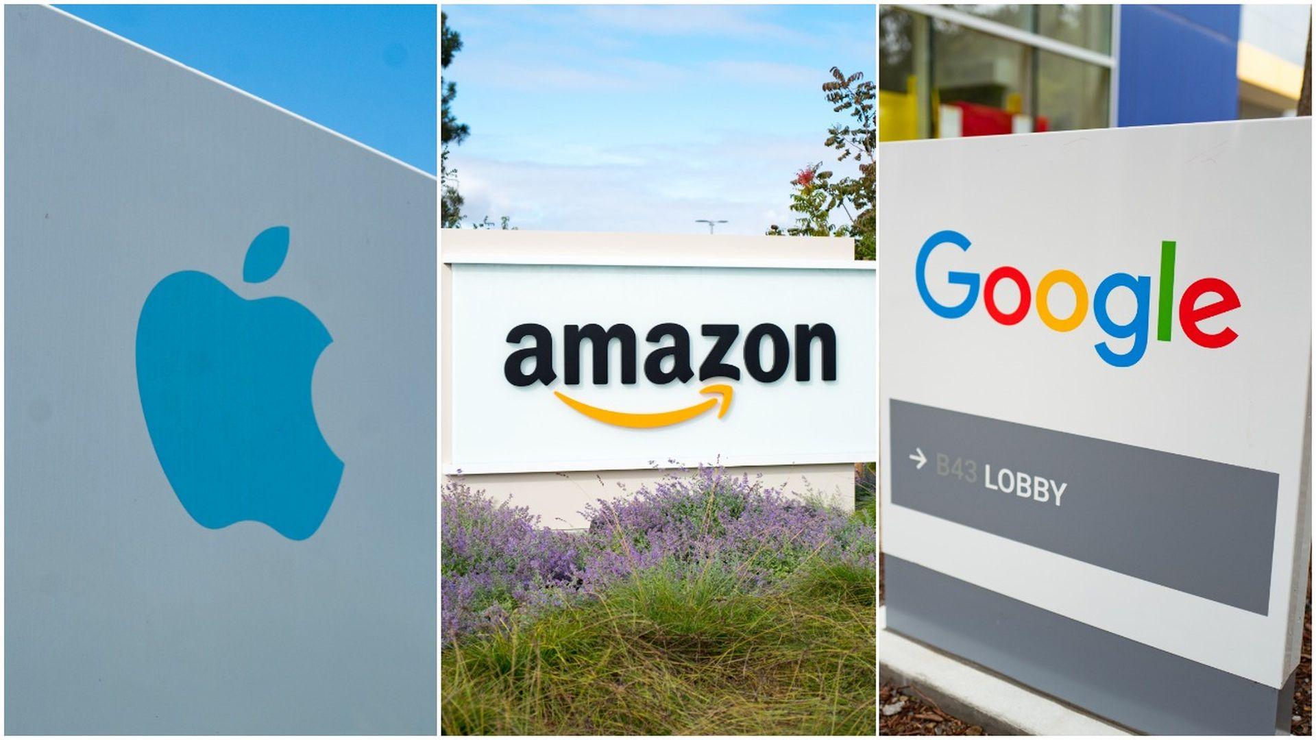 Apple, Amazon and Google's Alphabet headquarters.