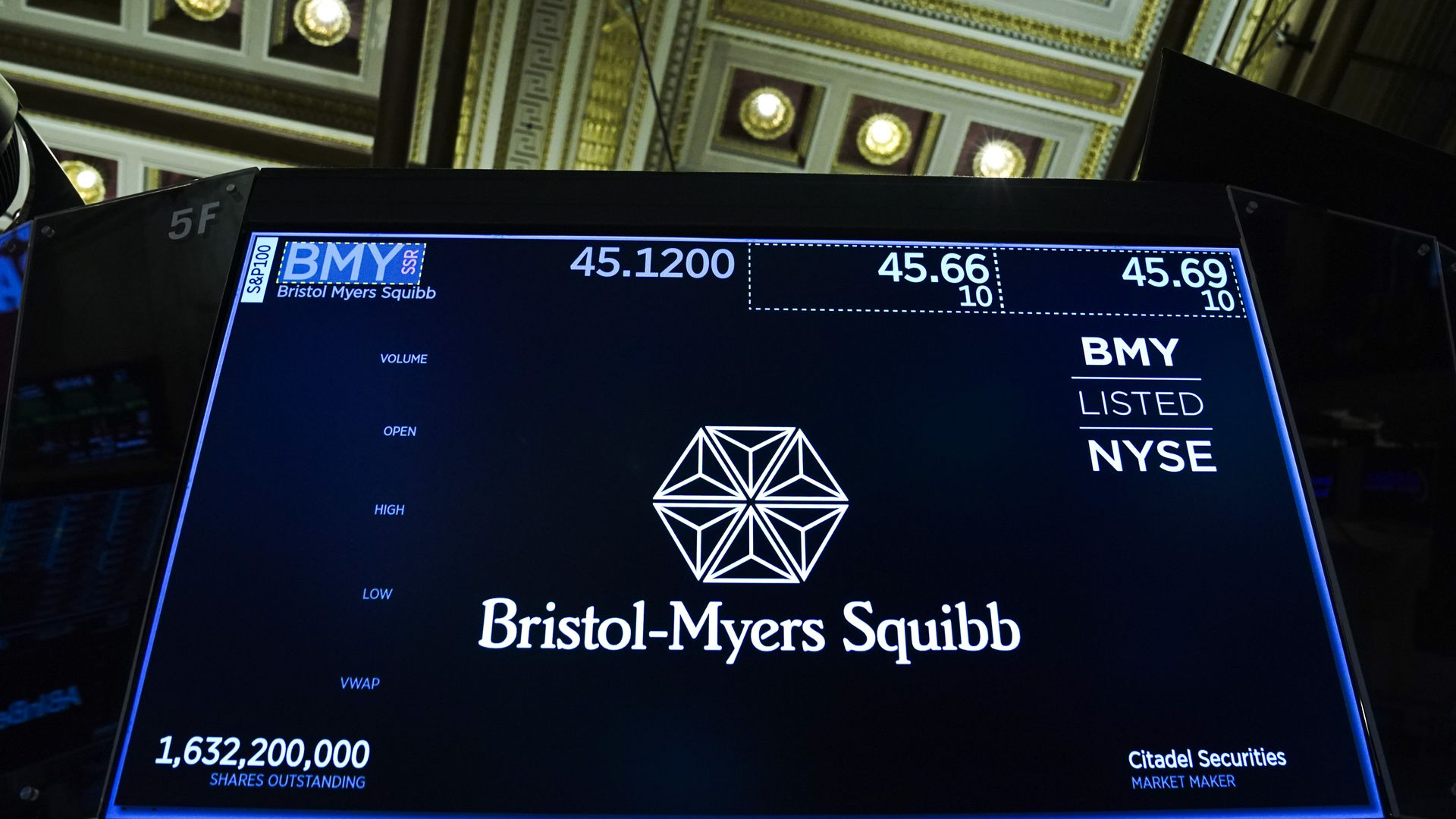 The Bristol-Myers Squibb logo on a computer screen in Wall Street
