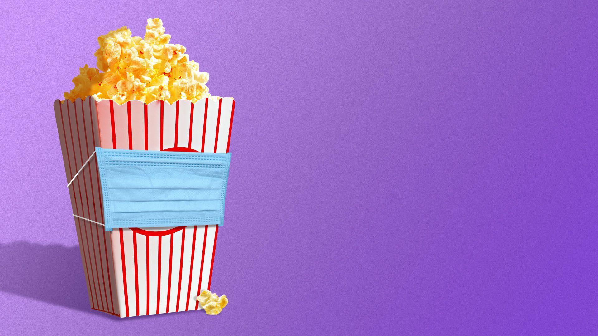 Illustration of a bag of popcorn wearing a medical mask