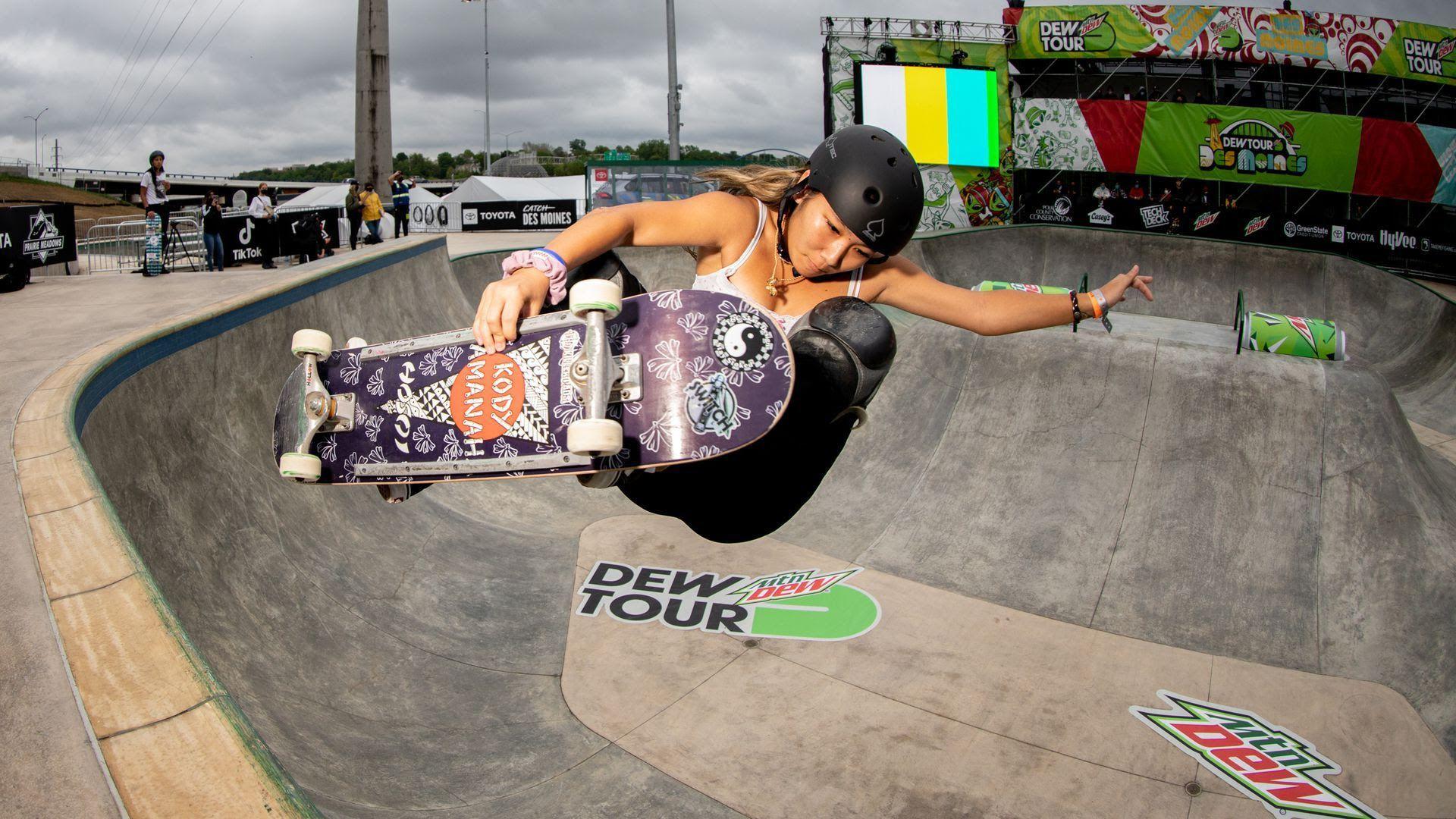 Kody Tamanaha, a professional skateboarder from Hawaii, practicing at the Lauridsen Skatepark.