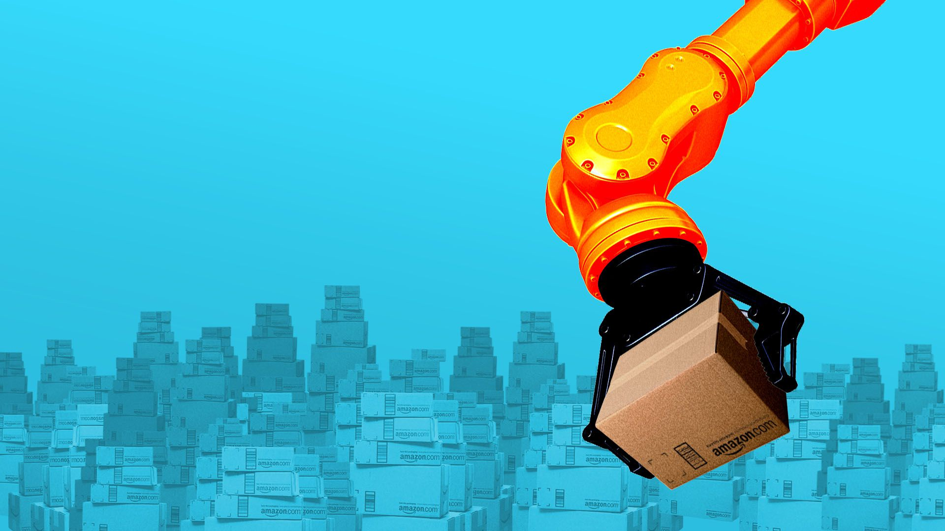 Illustration of a mechanical arm moving a mountain of Amazon boxes