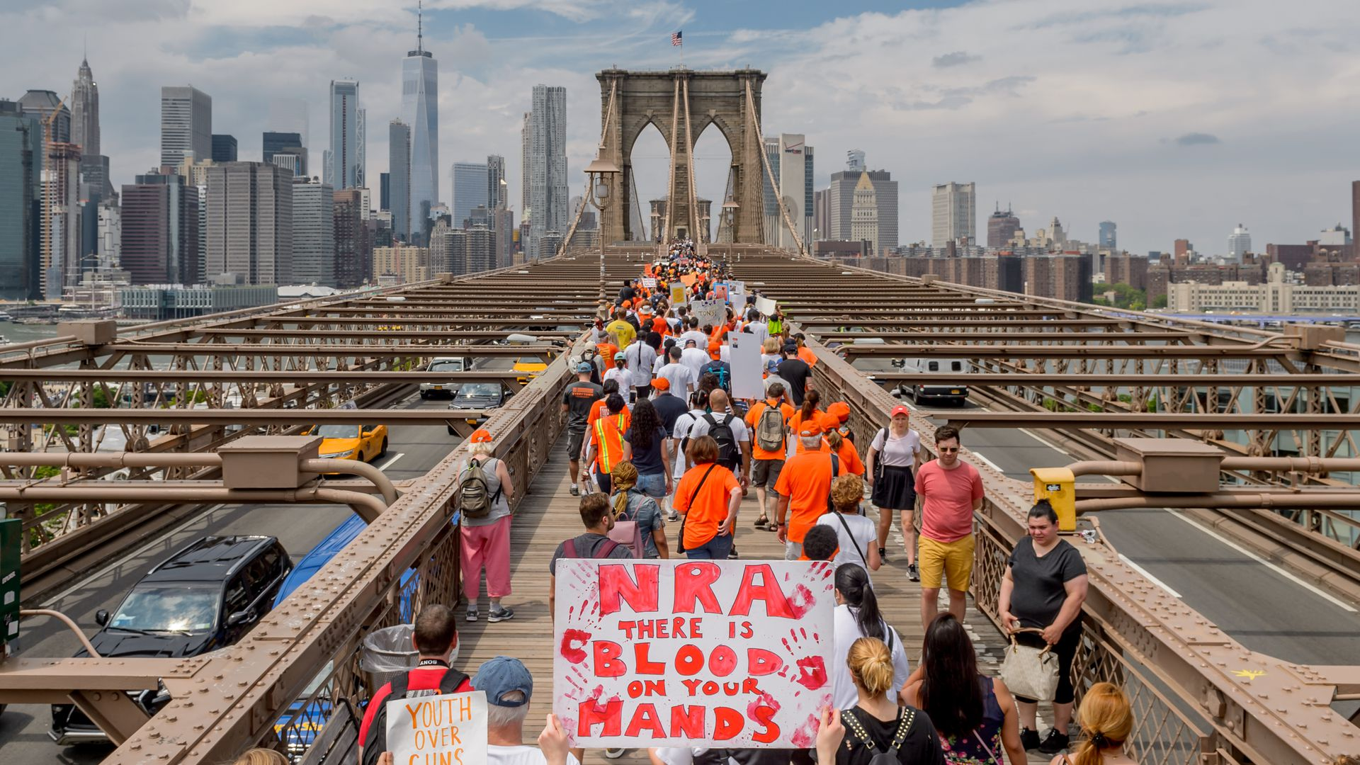 Gun control march on Brooklyn Bridge