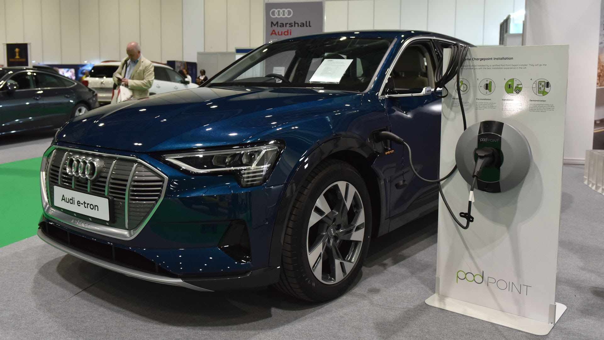 An Audi E-Tron electric SUV is displayed during the May London Motor and Tech Show. Photo: John Keeble/Getty Images