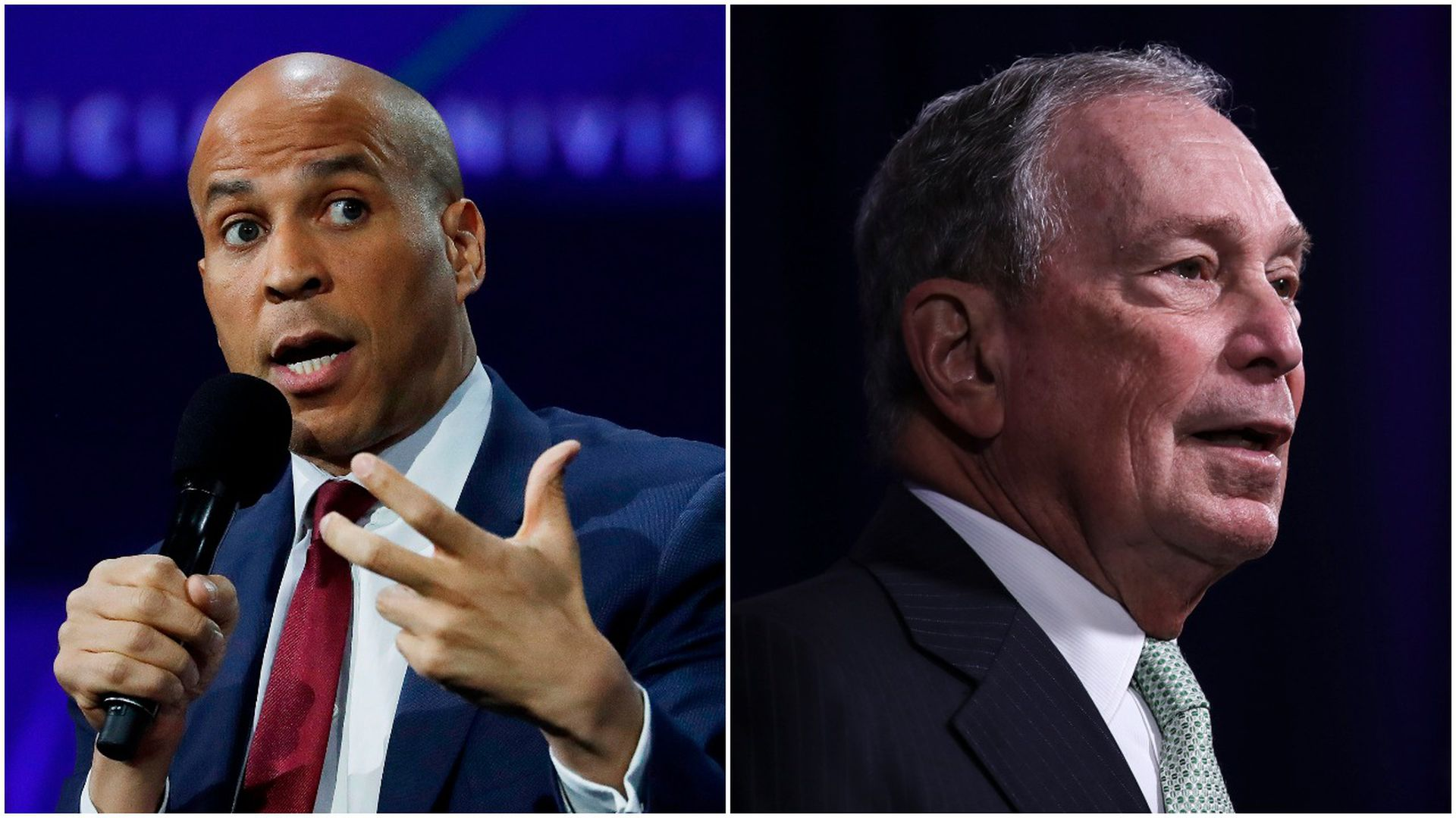 This image is a split screen between Cory Booker and Michael Bloomberg.