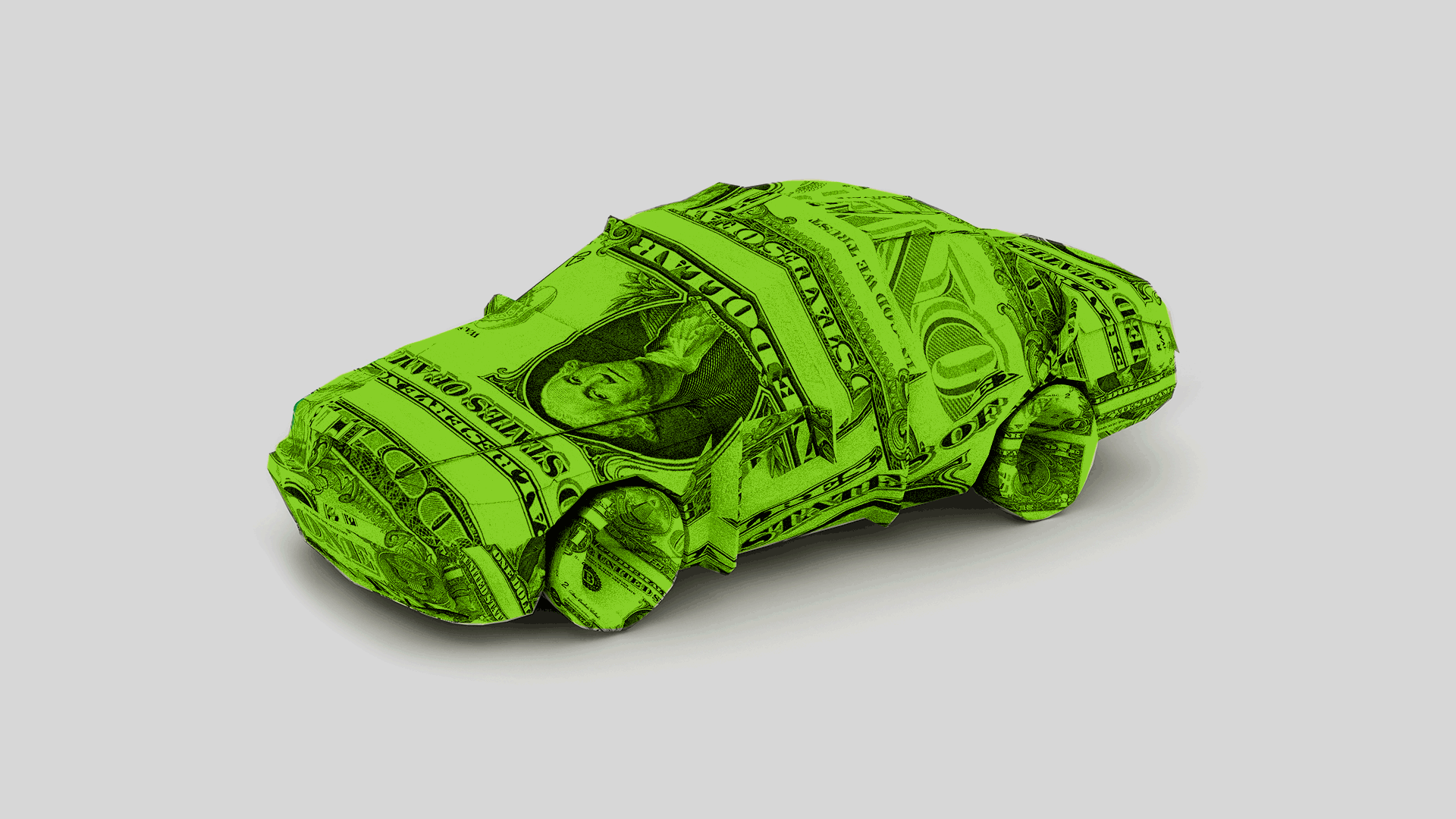 Illustration of a car made out of folded paper money.