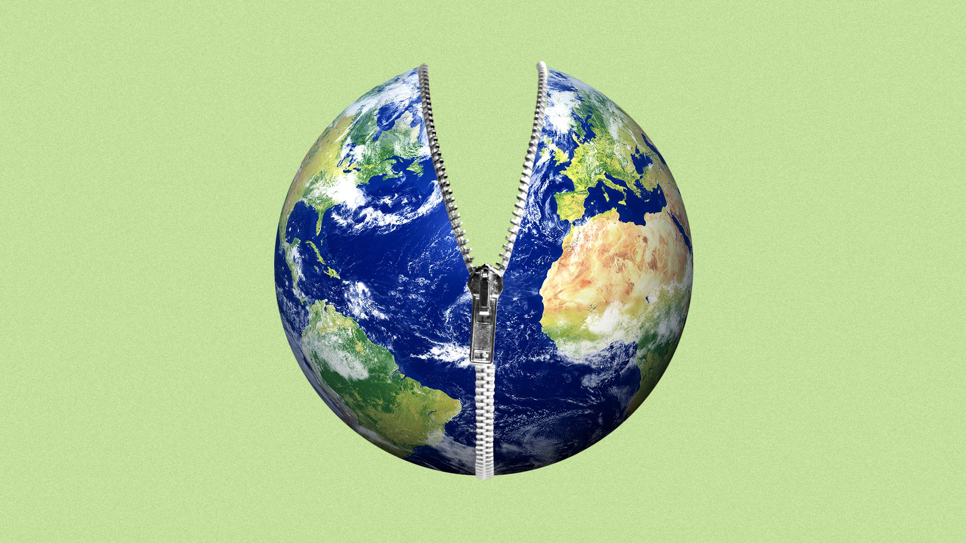 Illustration of the Earth being unzipped by a zipper