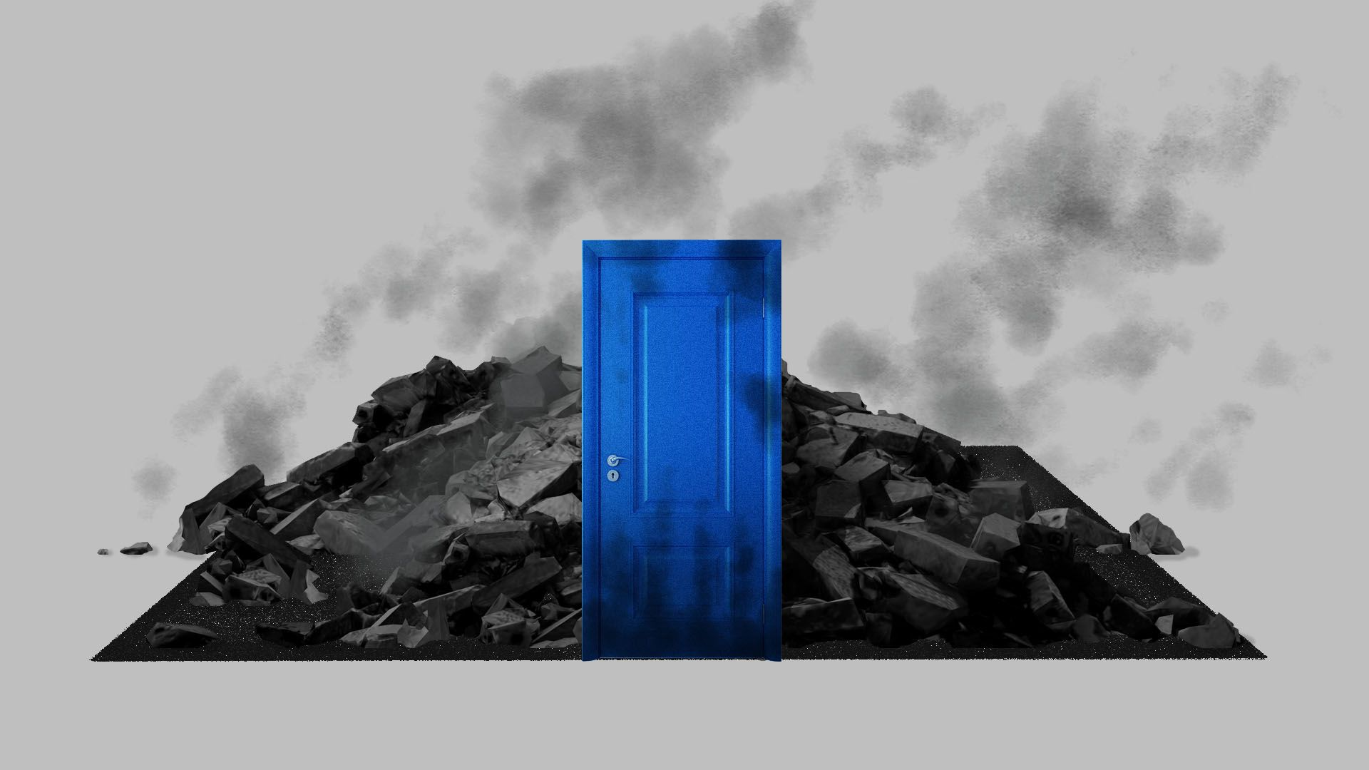 Illustration of a blue door with a burned down room behind it