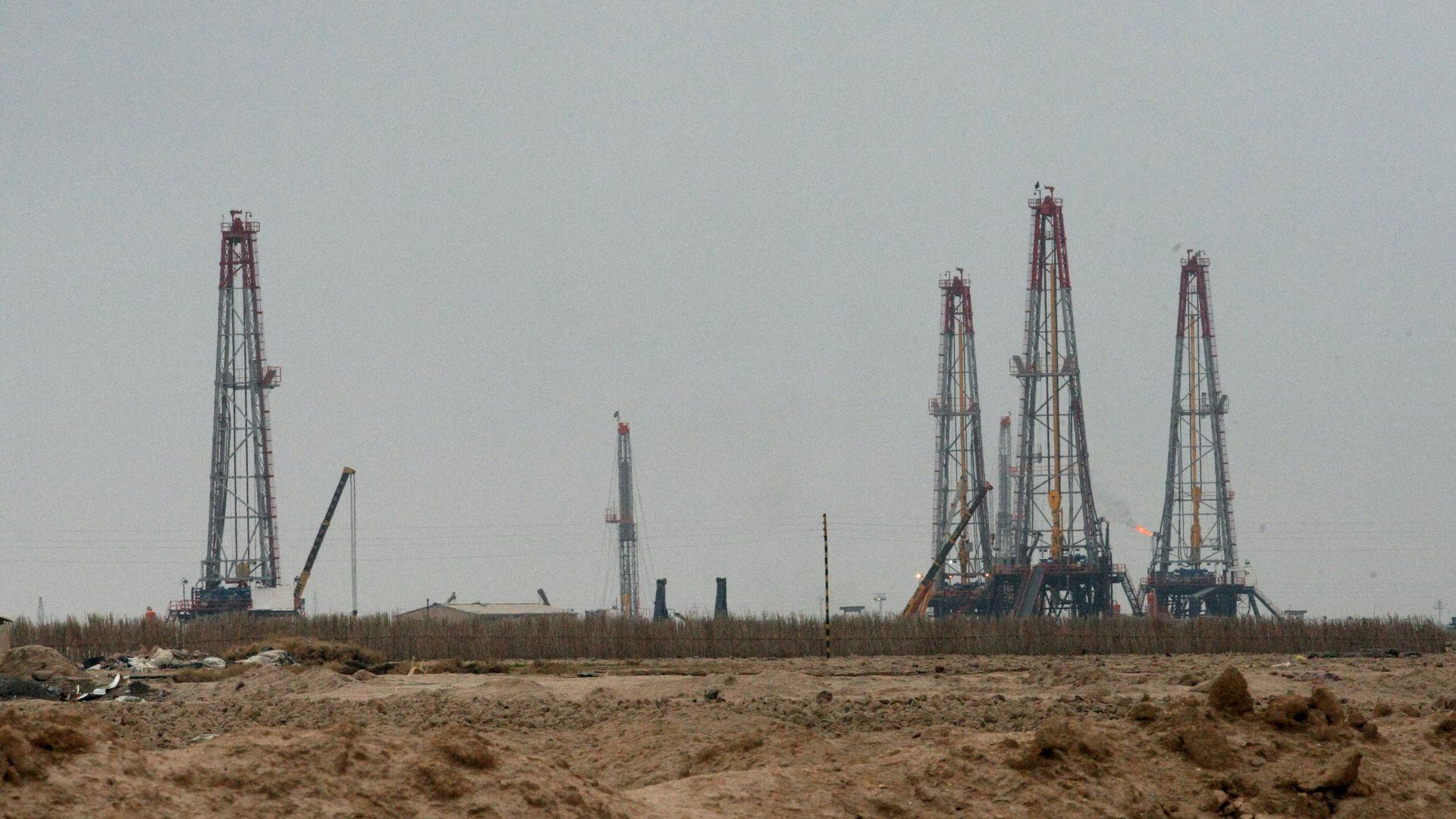 A partial view shows the Iraqi oil field of Rumaila near the southern port city of Basra on December 11, 2009.