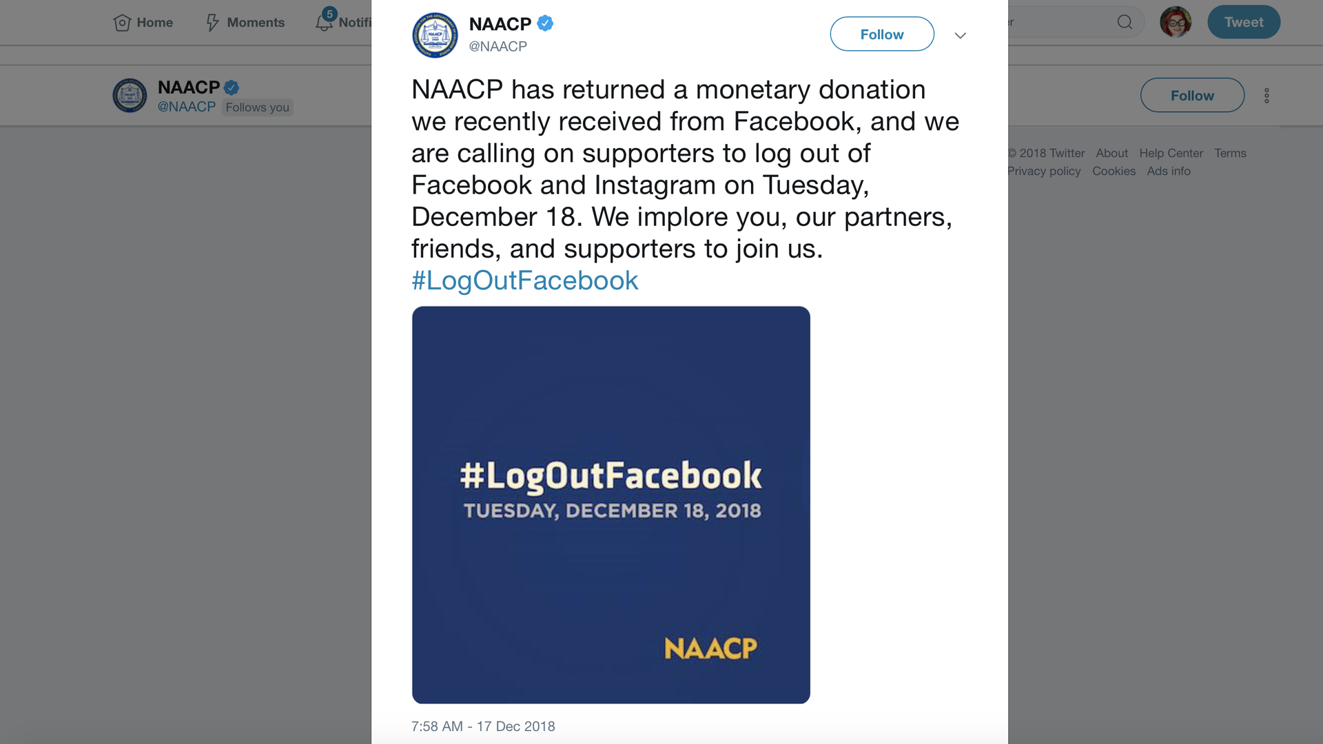 A tweet from the NAACP calling on supporters to boycott Facebook on Tuesday.