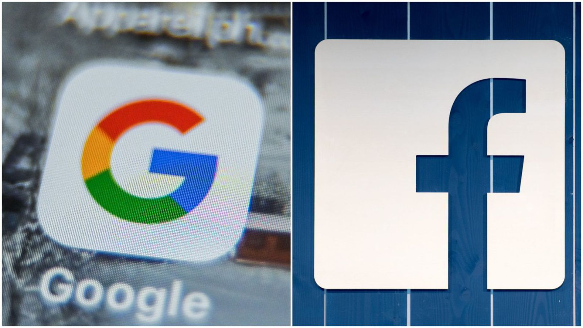Photo of logos of Google and Facebook