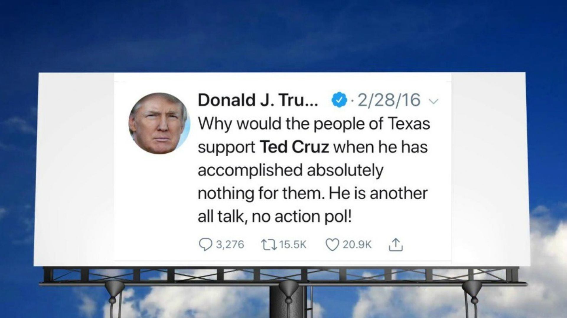 Billboard with Trump tweet attacking Ted Cruz